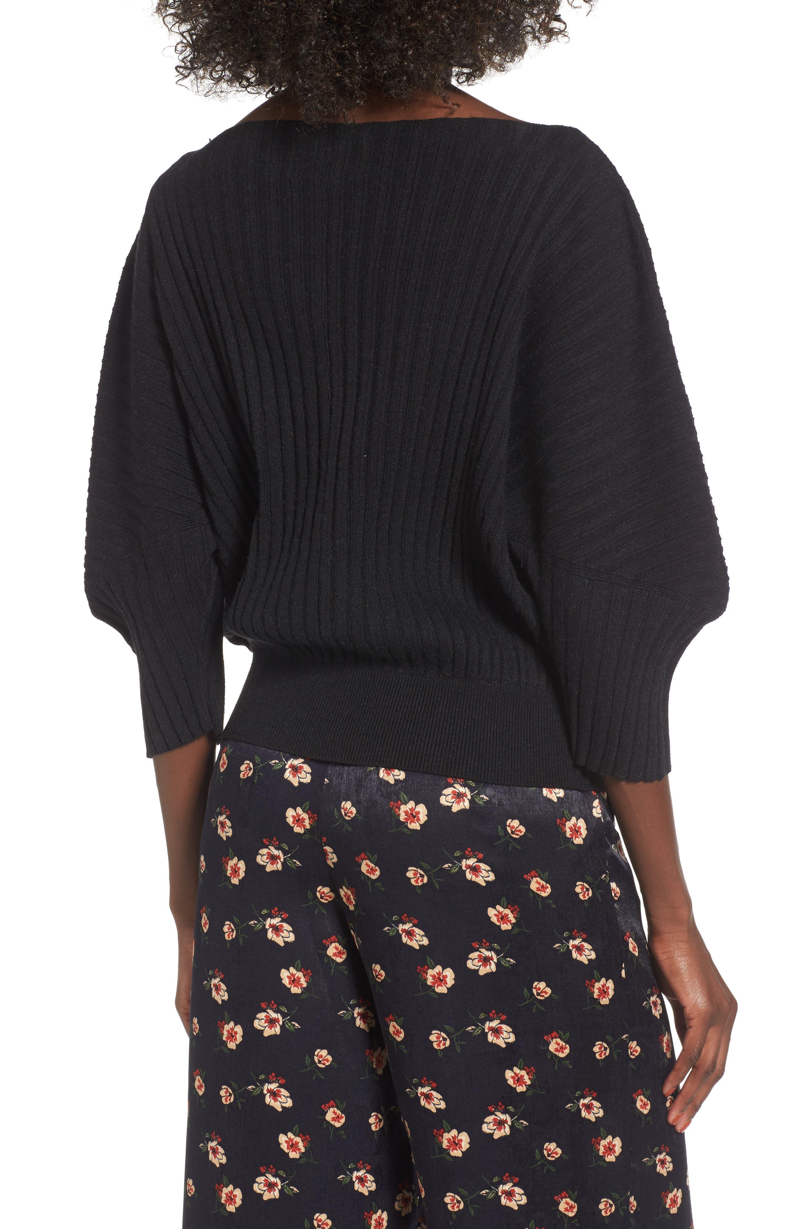 Rib Knit Blouson Sweater,                             Alternate thumbnail 2, color,                             001