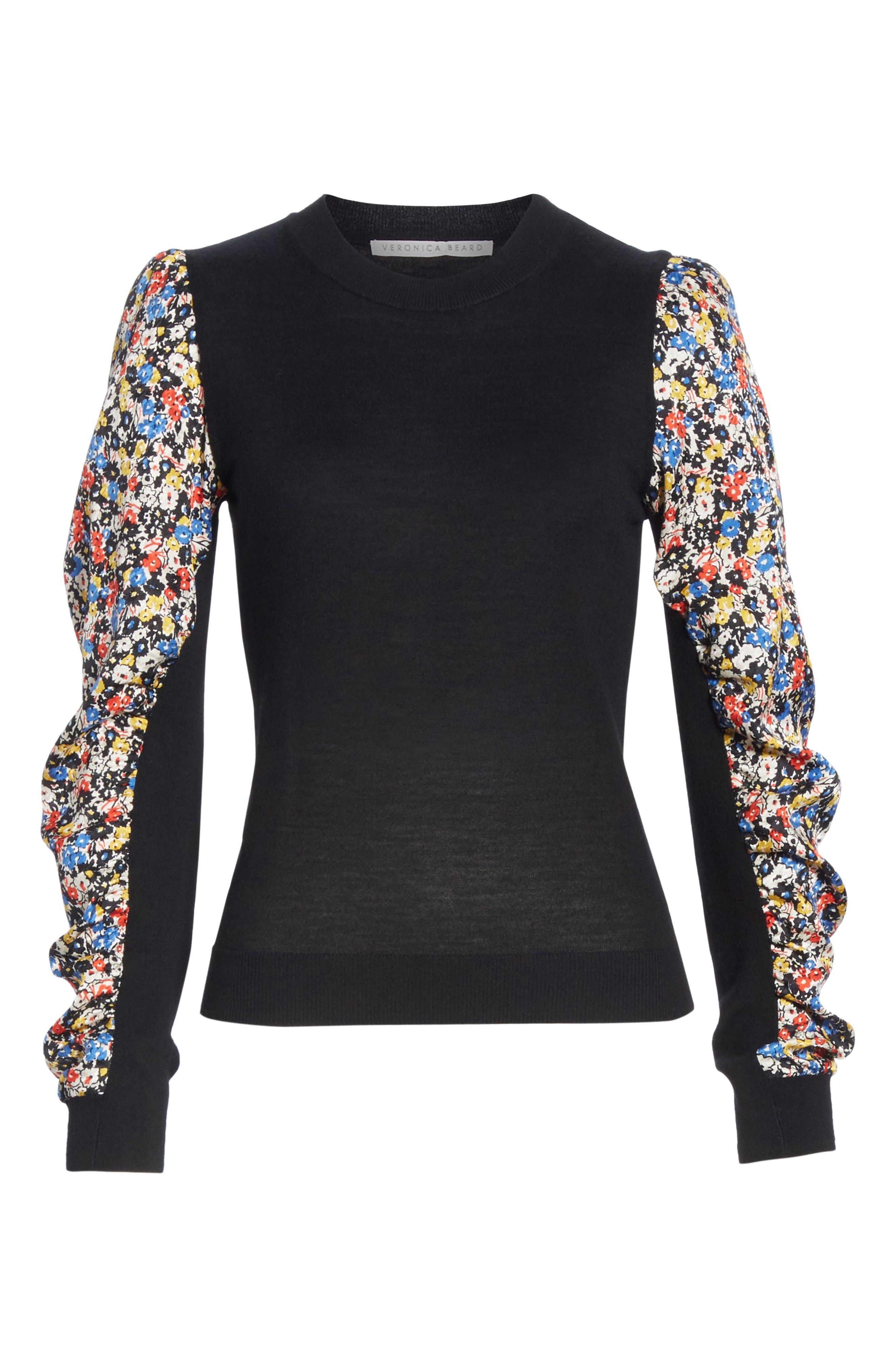 Adler Stretch Silk Sleeve Merino Wool Sweater,                             Alternate thumbnail 6, color,                             BLACK FLORAL