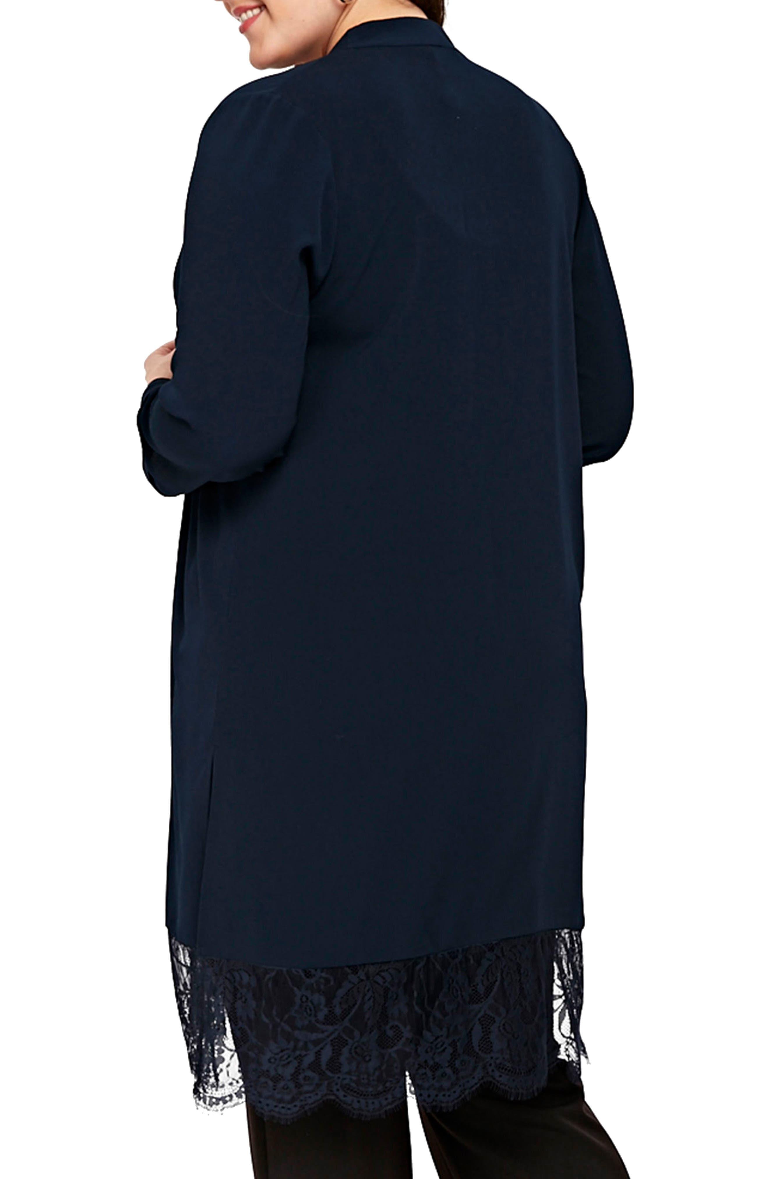 Lace Trim Kimono Jacket,                             Alternate thumbnail 2, color,                             NAVY