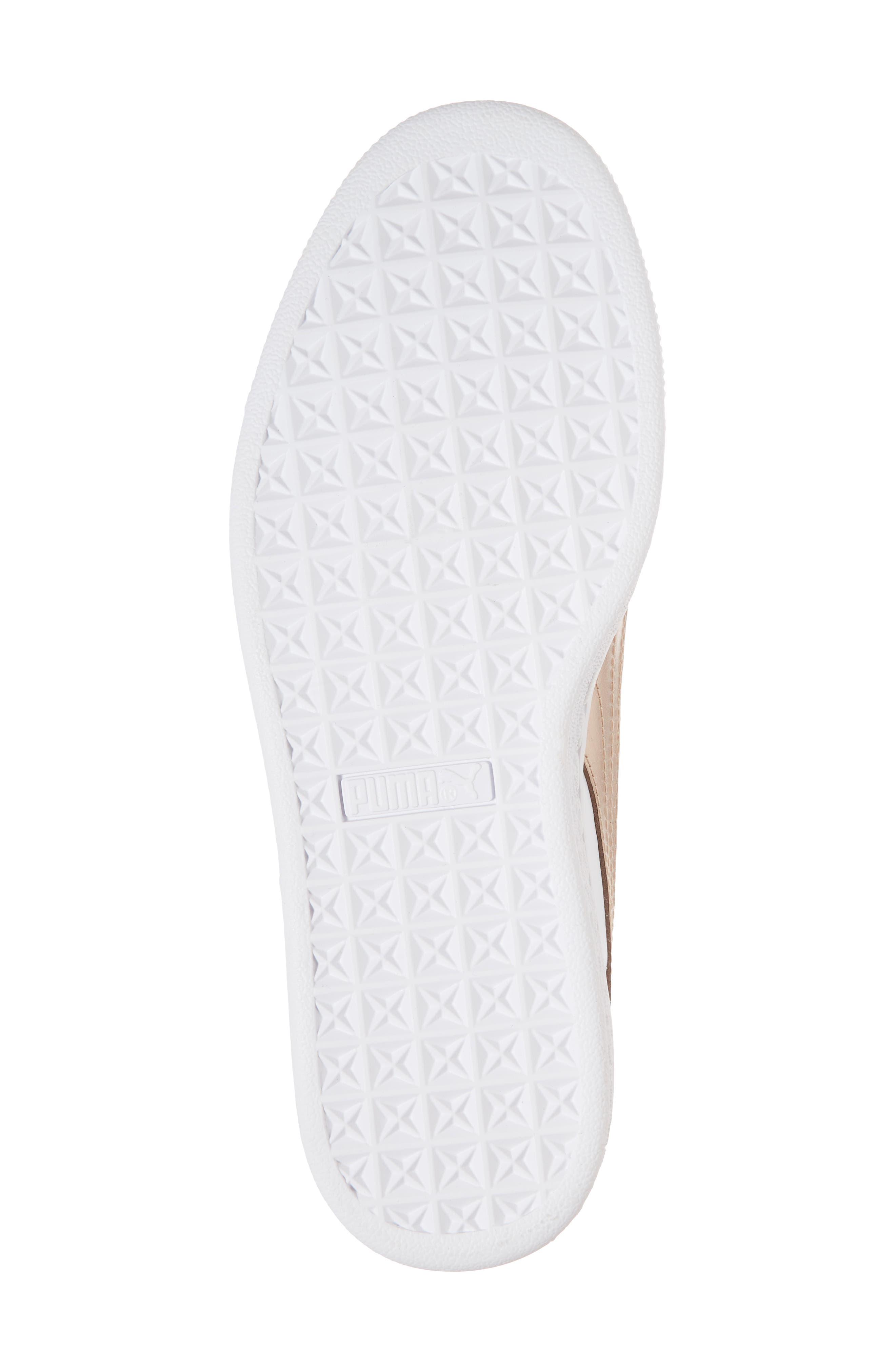 Basket Heart Sneaker,                             Alternate thumbnail 6, color,                             WHITE/ ROSE GOLD LEATHER