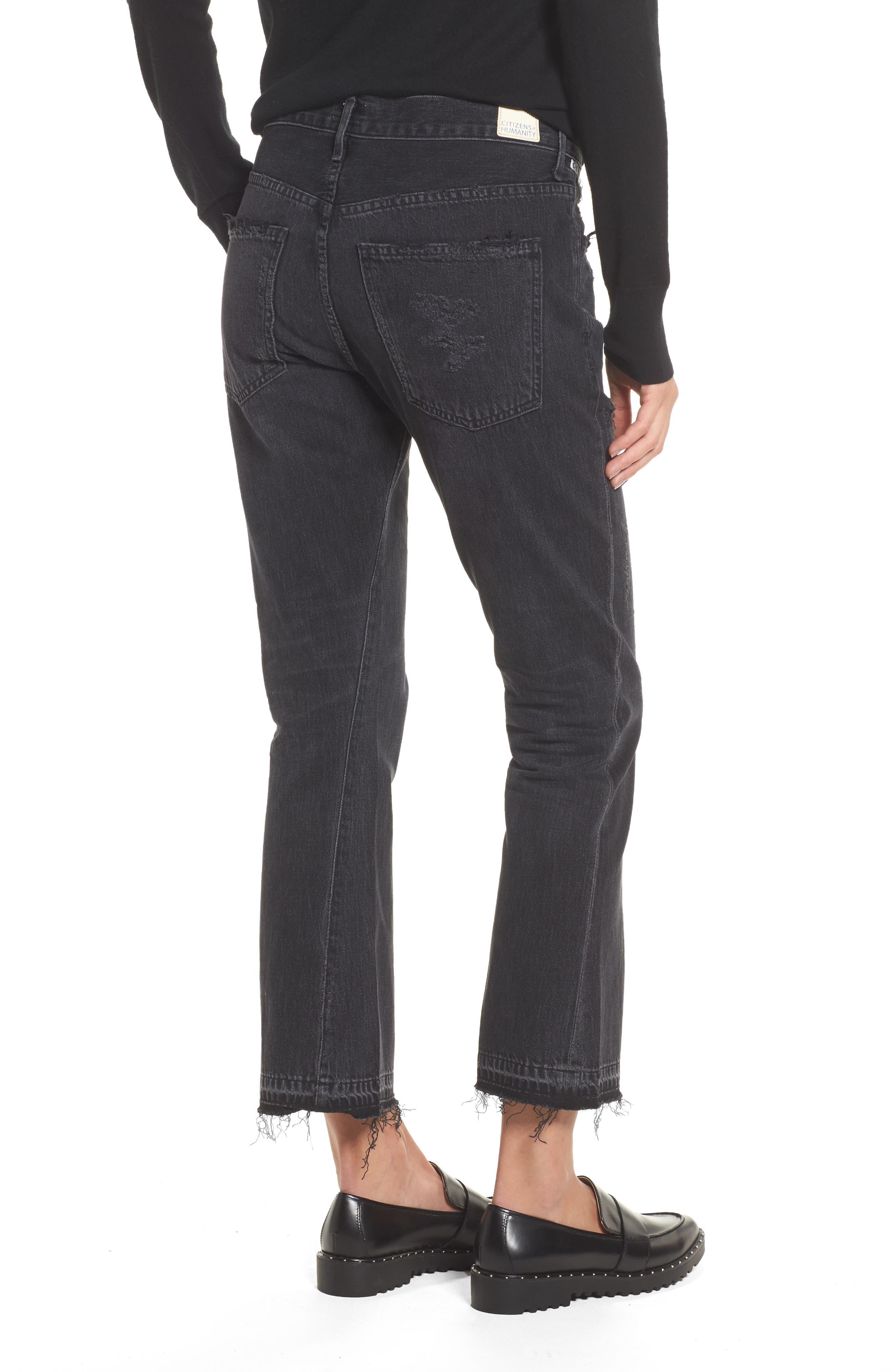 Sasha Twist Crop Jeans,                             Alternate thumbnail 2, color,                             BLACK HAWK