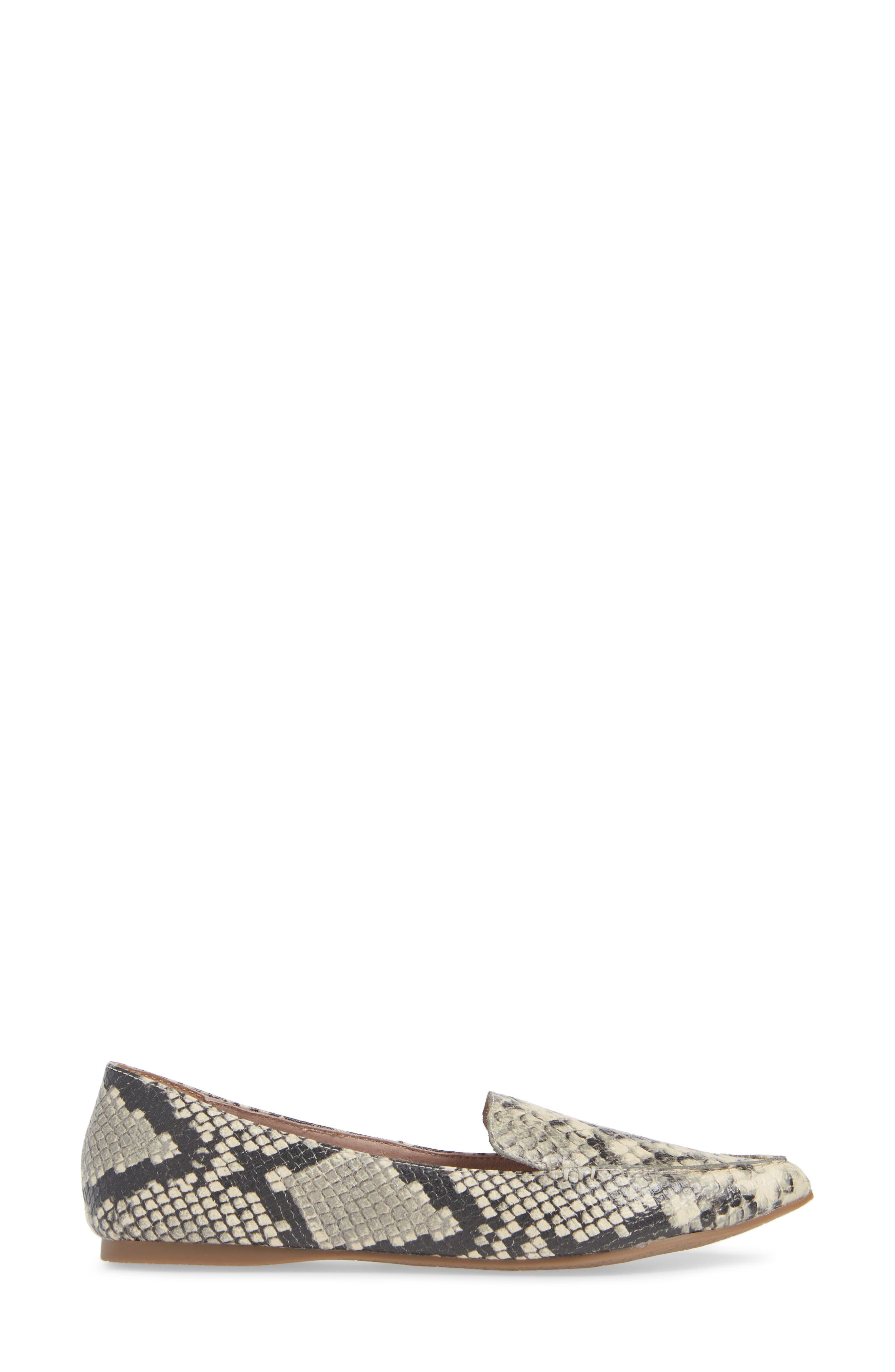Feather Loafer Flat,                             Alternate thumbnail 3, color,                             SNAKE PRINT LEATHER