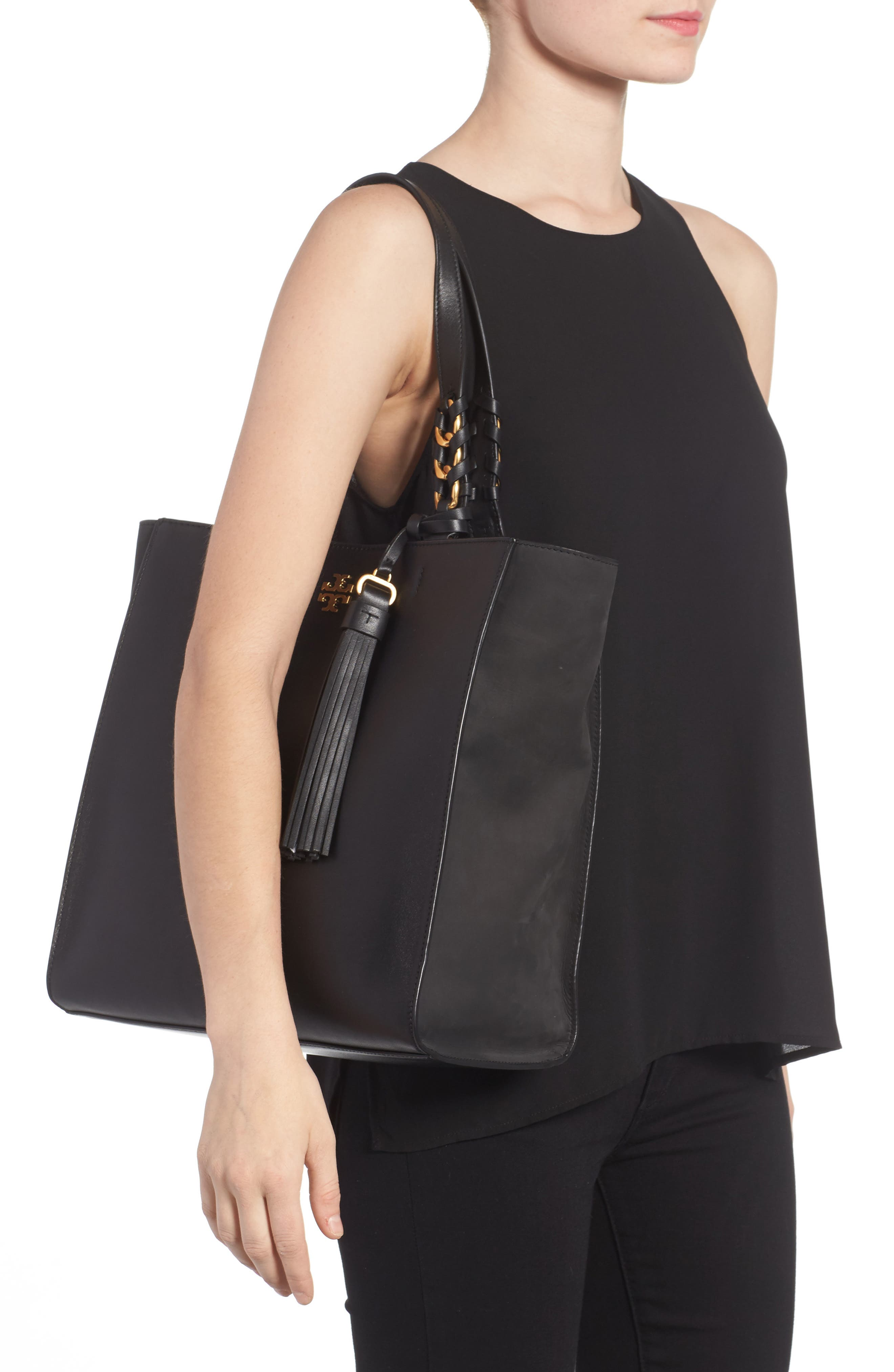 Brooke Leather Tote,                             Alternate thumbnail 2, color,                             001