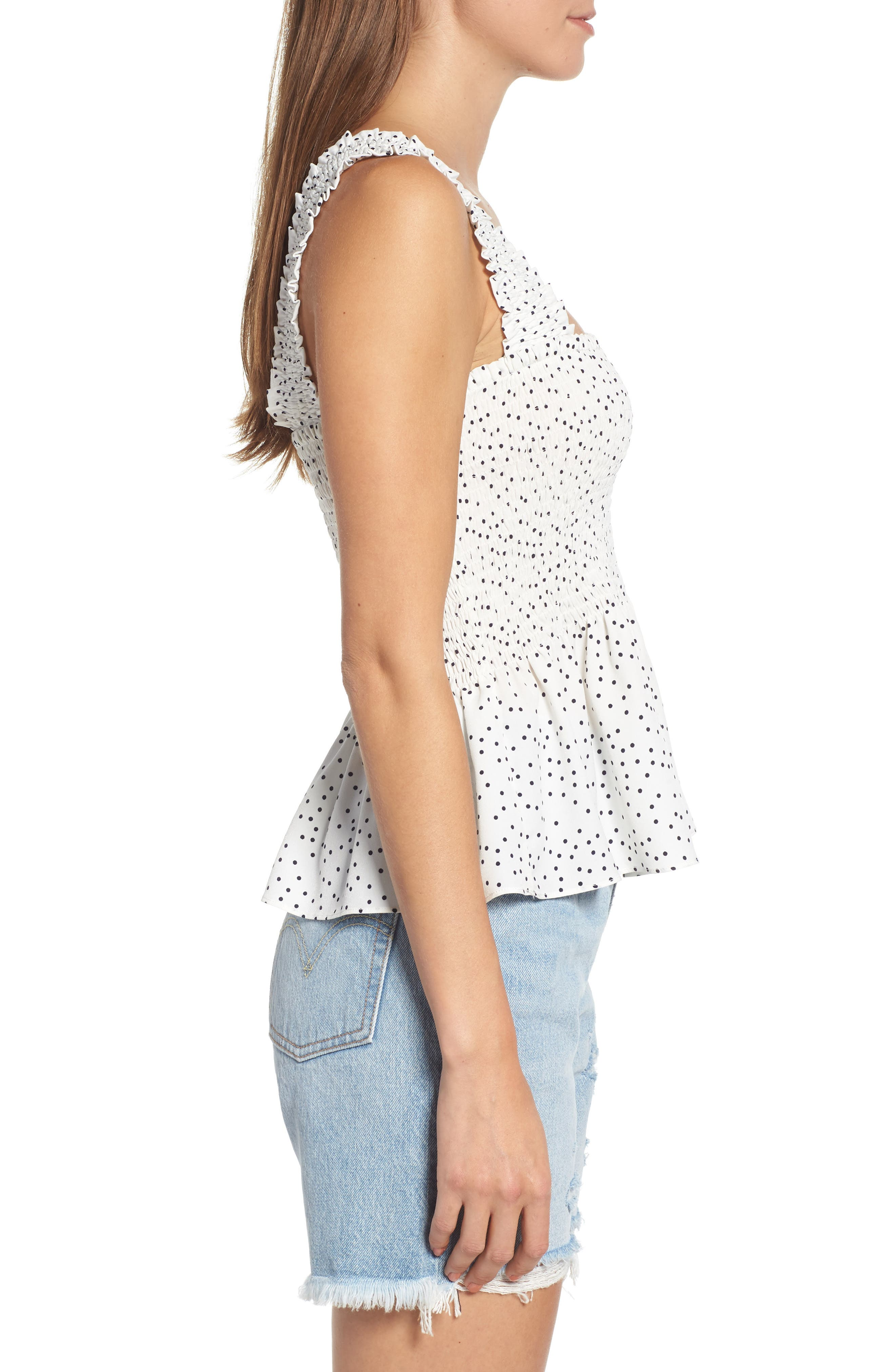 Polka Dot Smocked Top,                             Alternate thumbnail 3, color,                             001