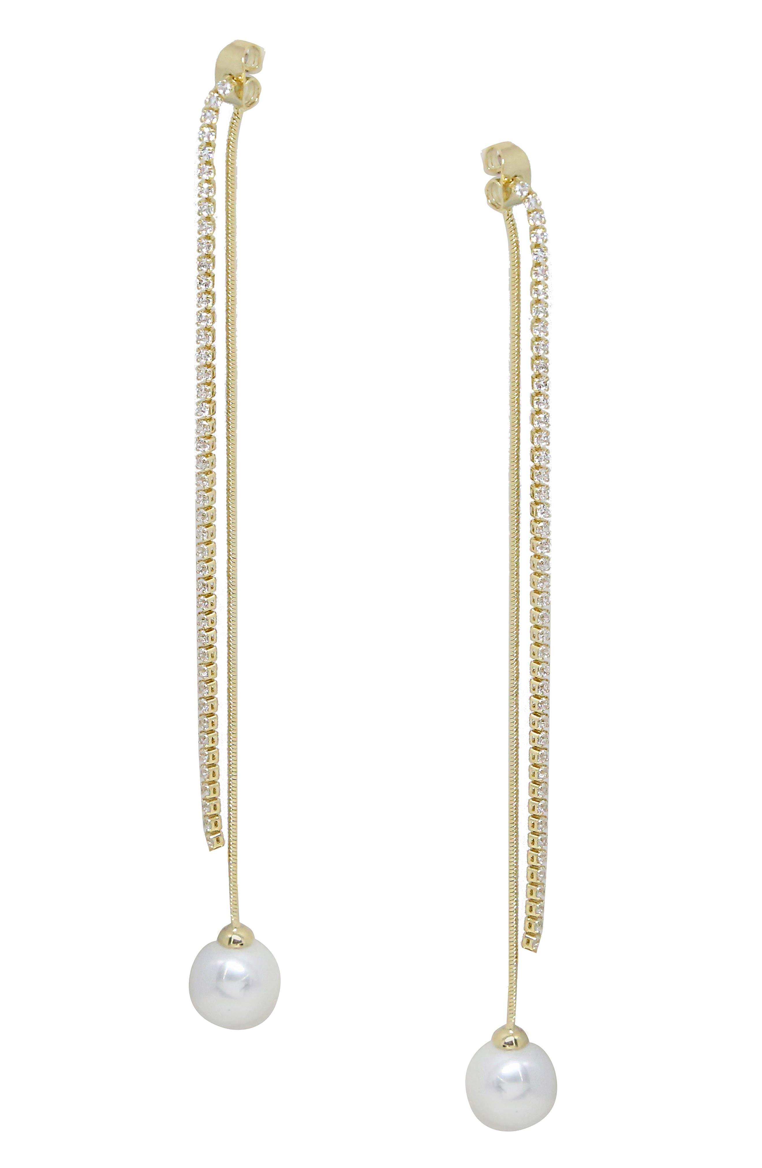 ETTIKA Imitation Pearl Front/Back Earrings in Gold