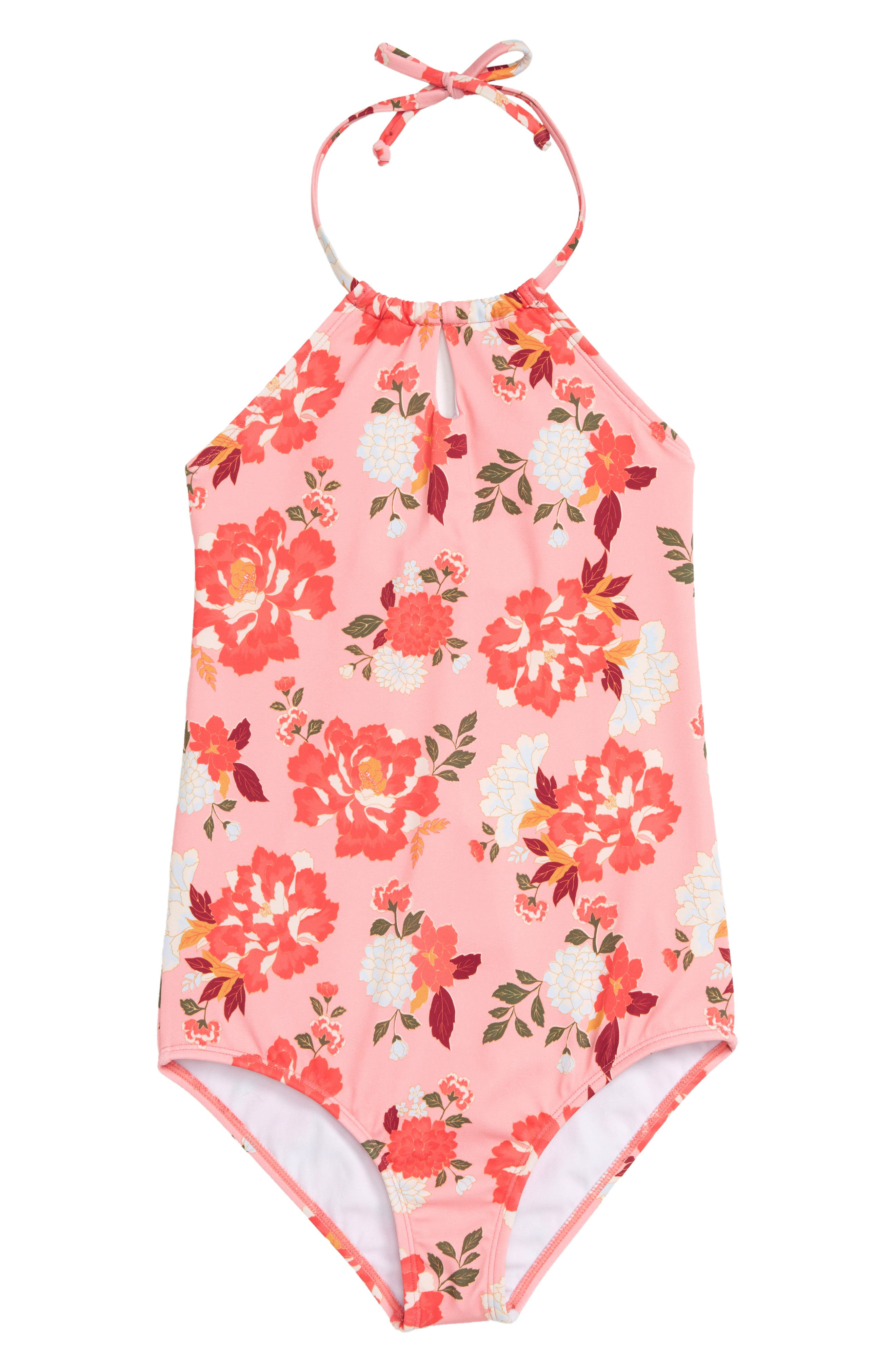 All Along Halter One-Piece Swimsuit,                         Main,                         color, SORBET