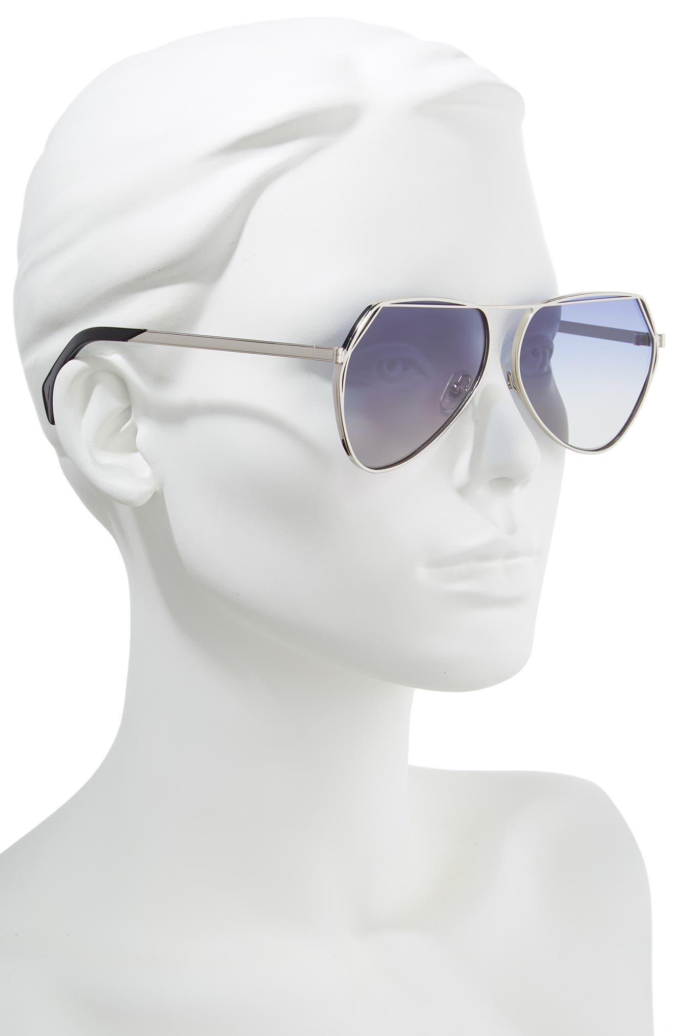 Taj 62mm Oversize Aviator Sunglasses,                             Alternate thumbnail 2, color,                             SILVER/ GREY-BLUE GRADIENT