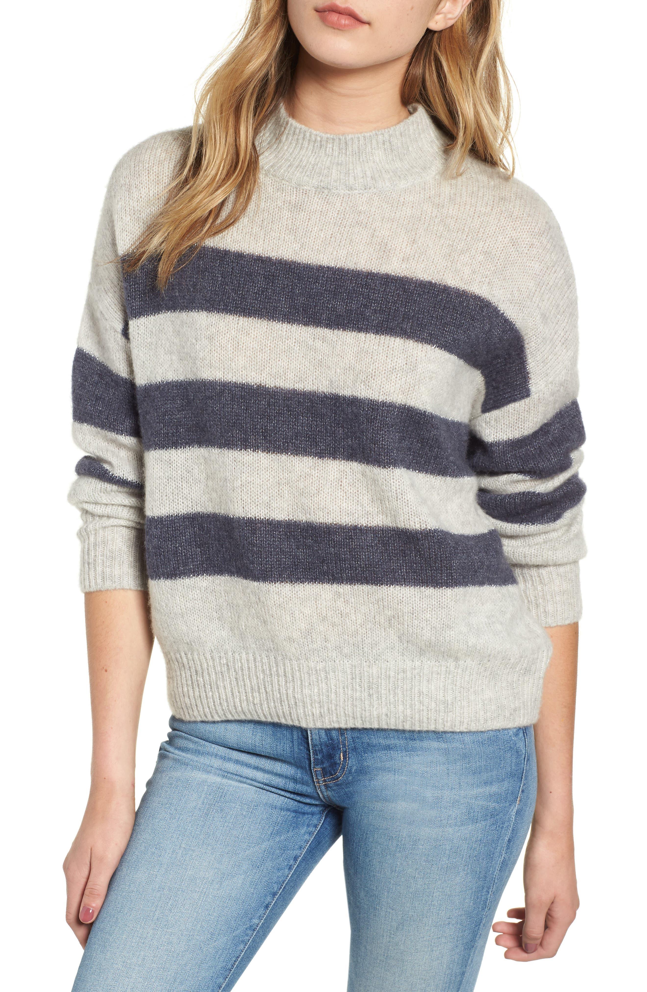 Ellise Stripe Silk & Cashmere Blend Sweater,                         Main,                         color, MIST INDIGO