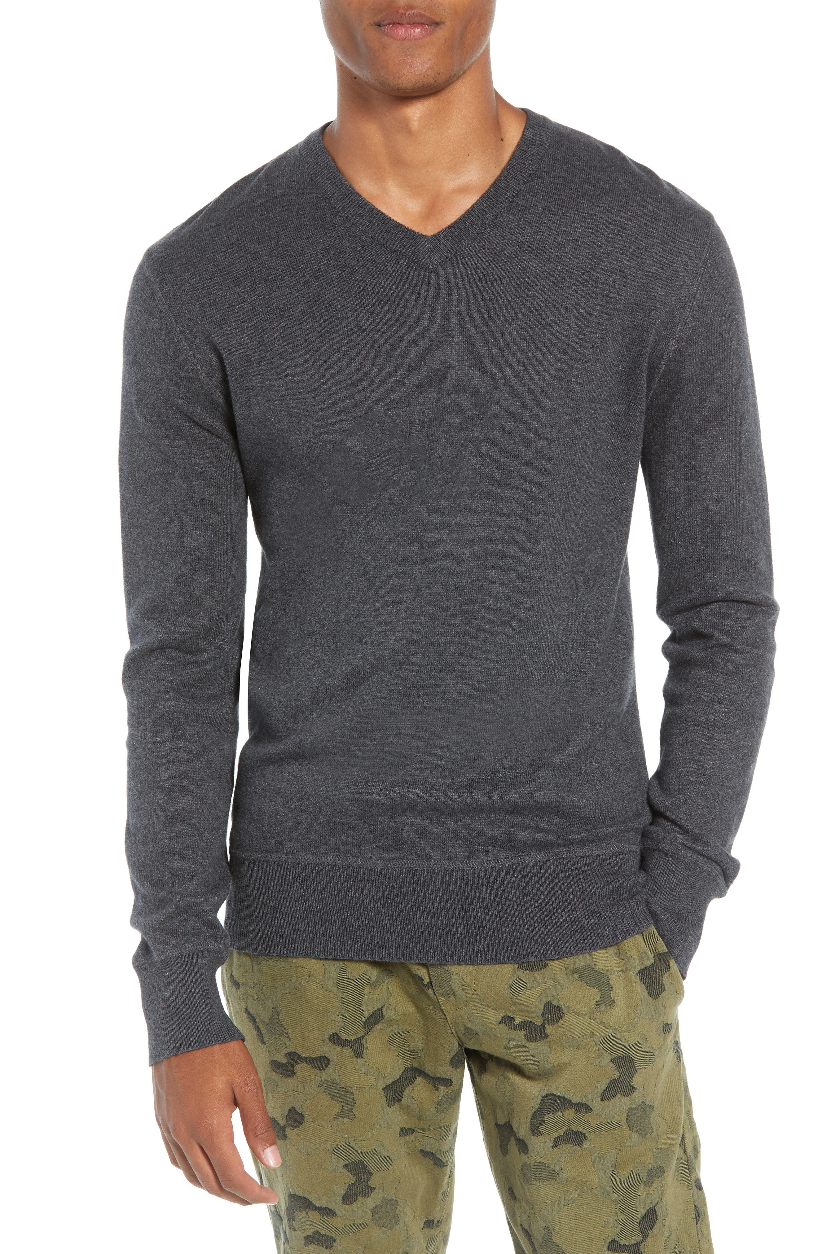 Tournament Slim Fit V-Neck Sweater,                         Main,                         color, HEATHER CHARCOAL