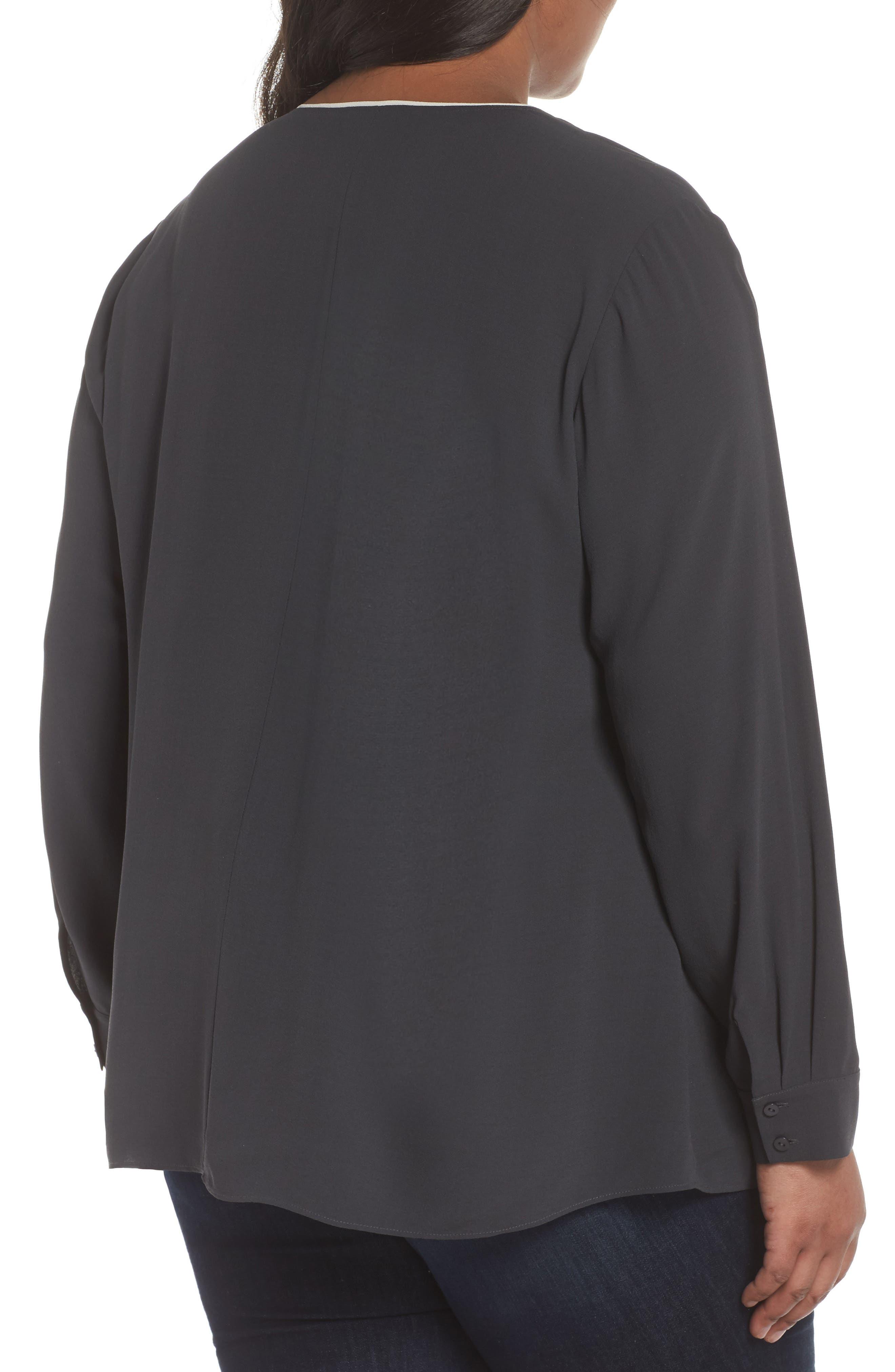Piping V-Neck Silk Shirt,                             Alternate thumbnail 2, color,                             025