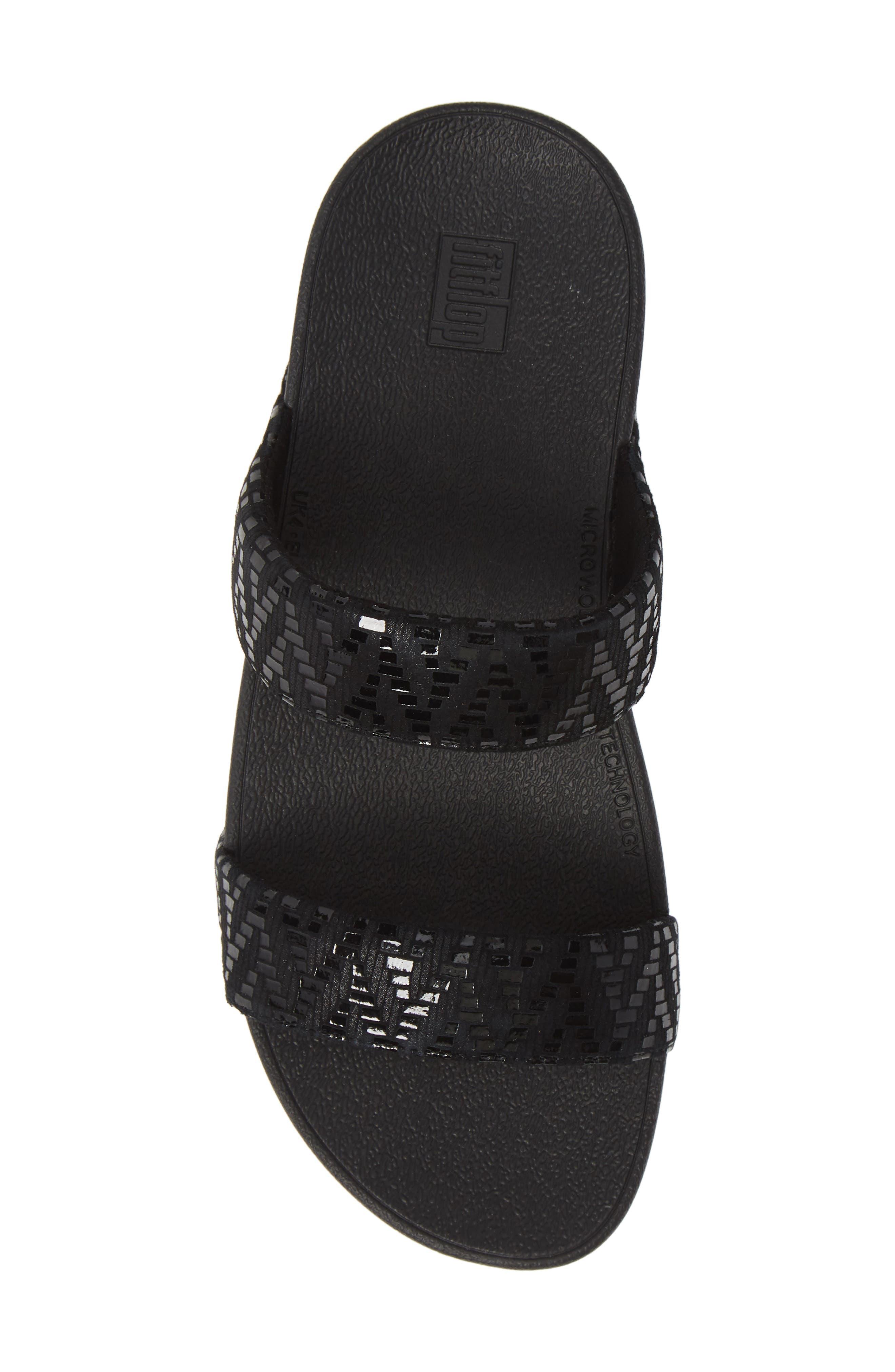Lottie Chevron Wedge Slide Sandal,                             Alternate thumbnail 5, color,                             BLACK FABRIC