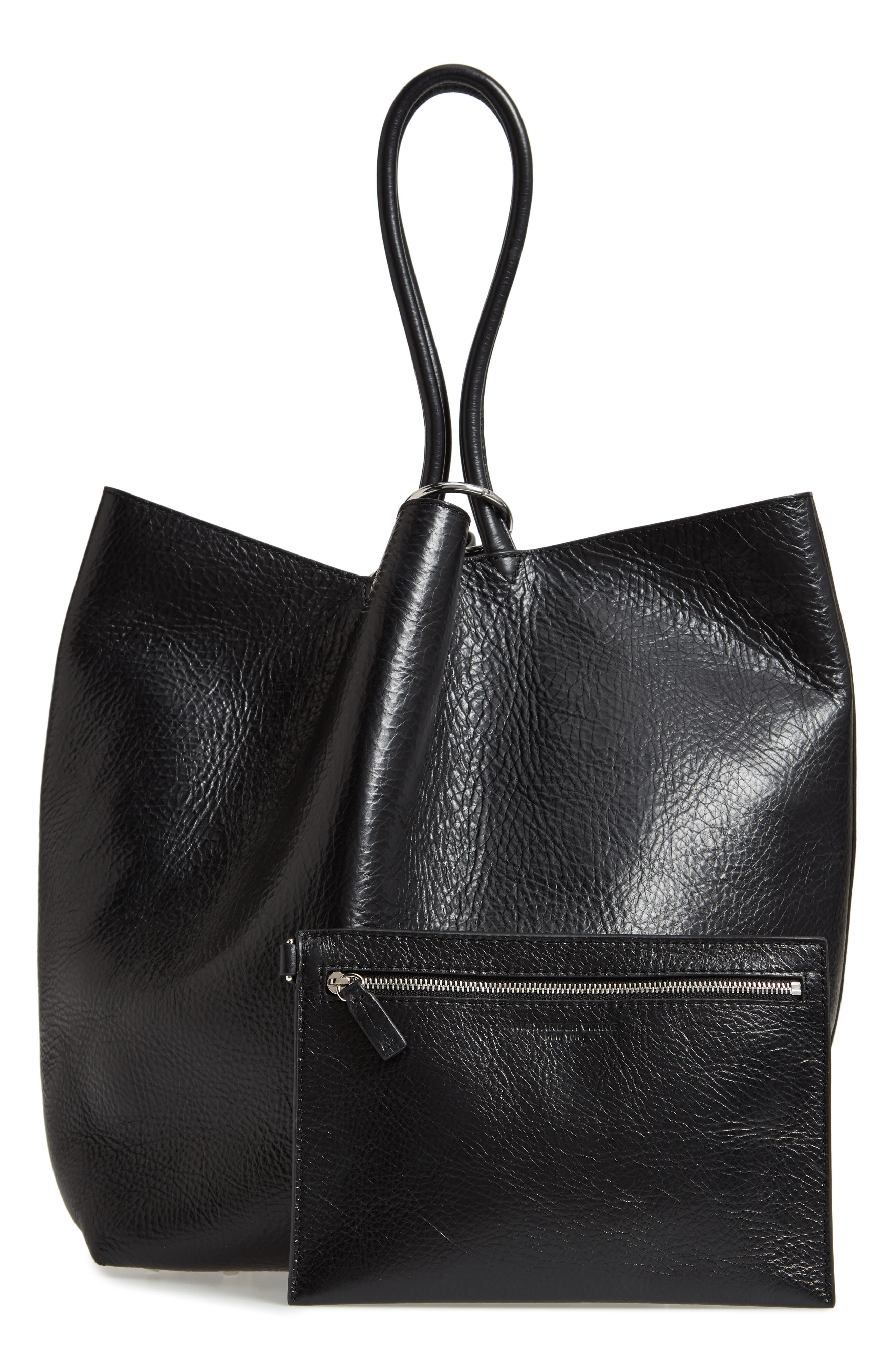ALEXANDER WANG,                             Large Roxy Leather Tote Bag,                             Alternate thumbnail 3, color,                             BLACK