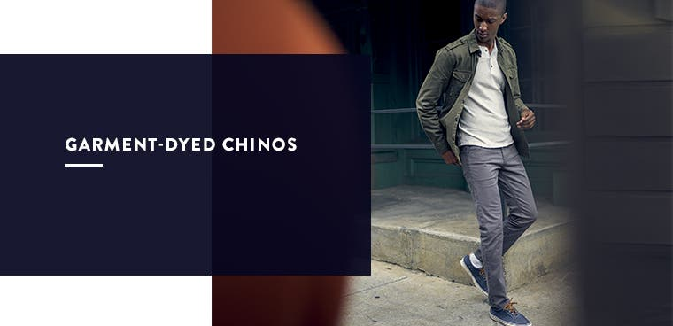 Men's garment-dyed chinos.