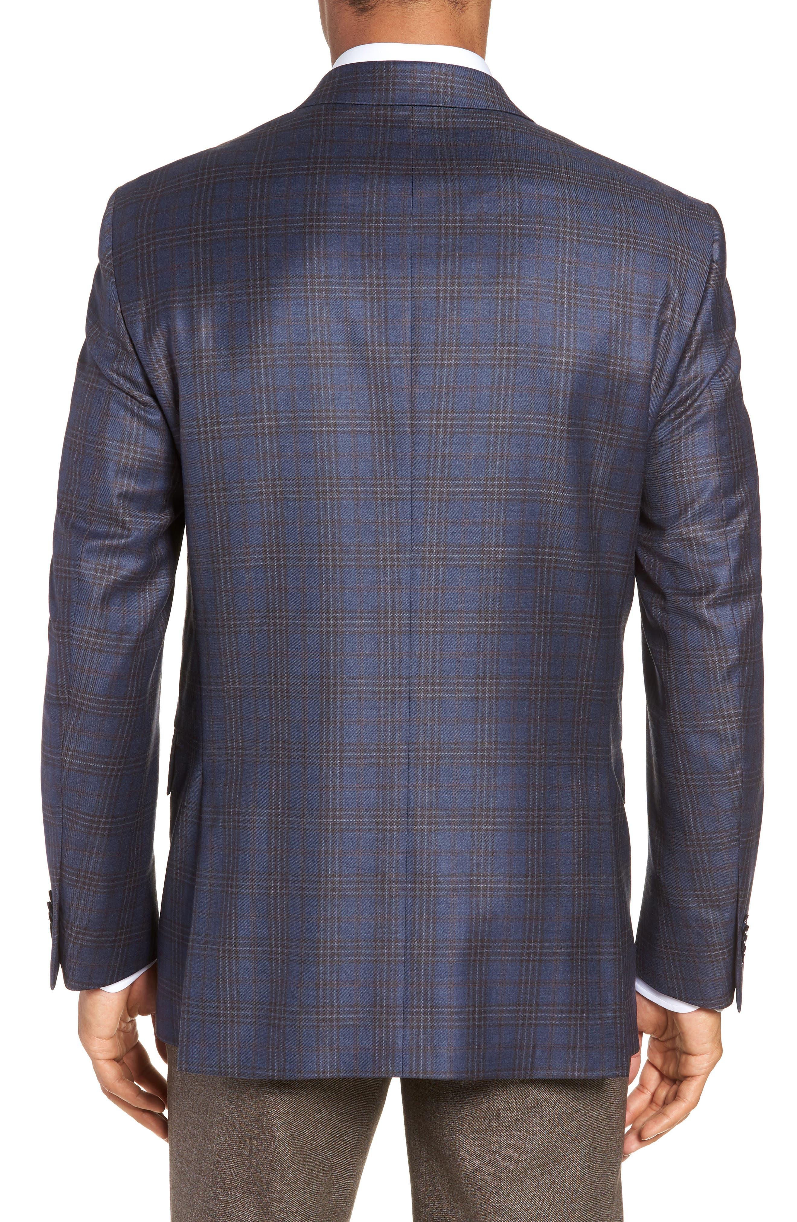 Flynn Classic Fit Plaid Wool Sport Coat,                             Alternate thumbnail 2, color,                             BLUE