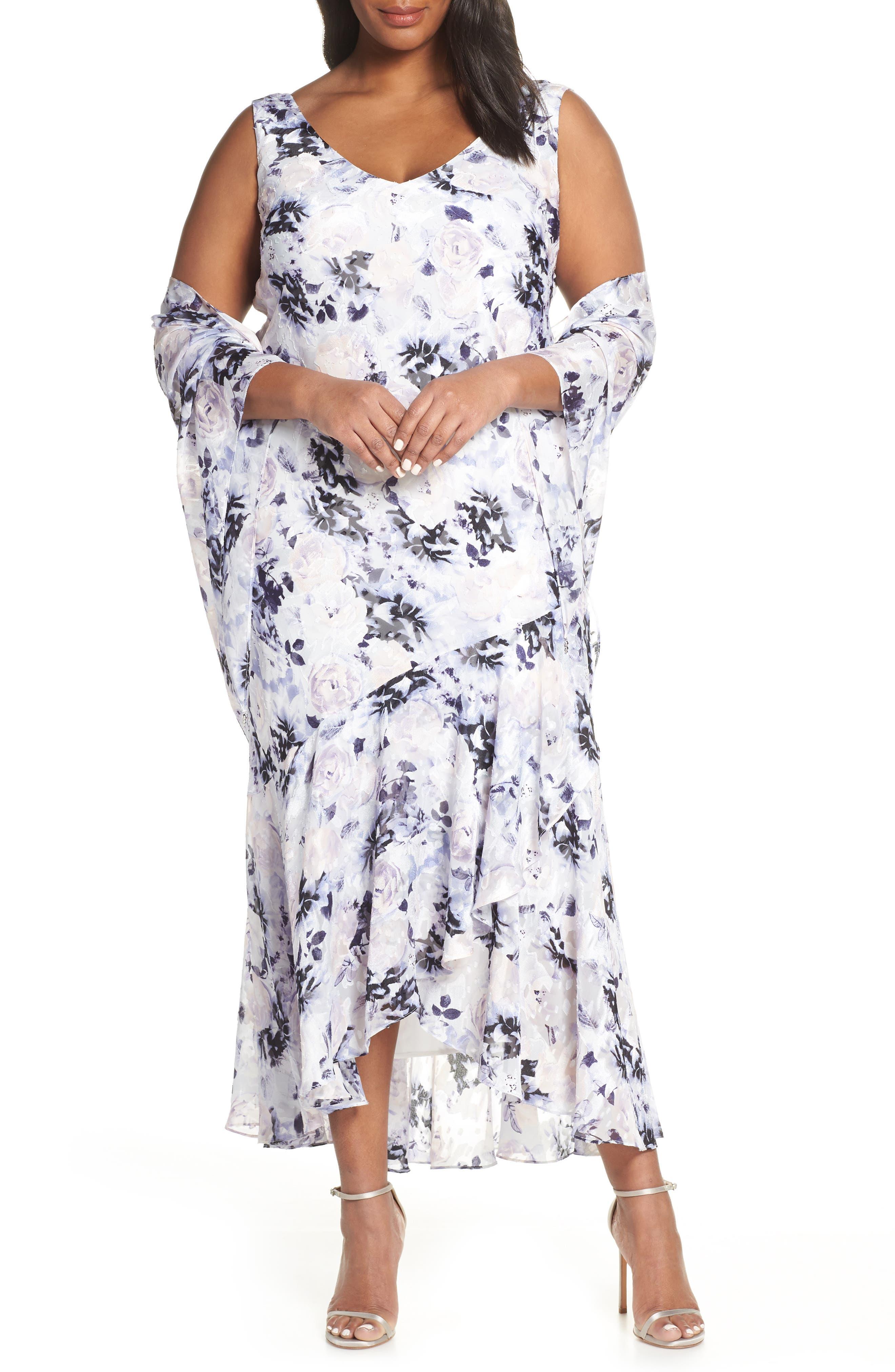 Plus Size Alex Evenings Floral Burnout High/low Chiffon Evening Dress With Wrap, Purple