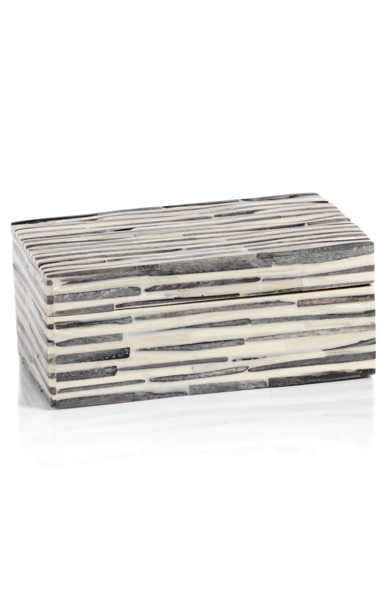 Sanur Bone Jewelry Box,                             Main thumbnail 1, color,                             WHITE/ BLACK