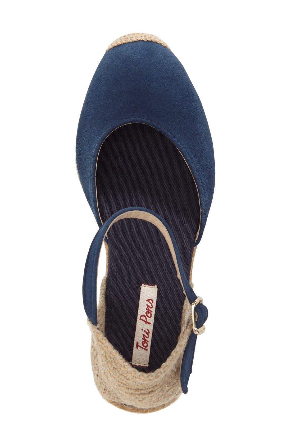 'Lloret-5' Espadrille Wedge Sandal,                             Alternate thumbnail 3, color,                             NAVY SUEDE