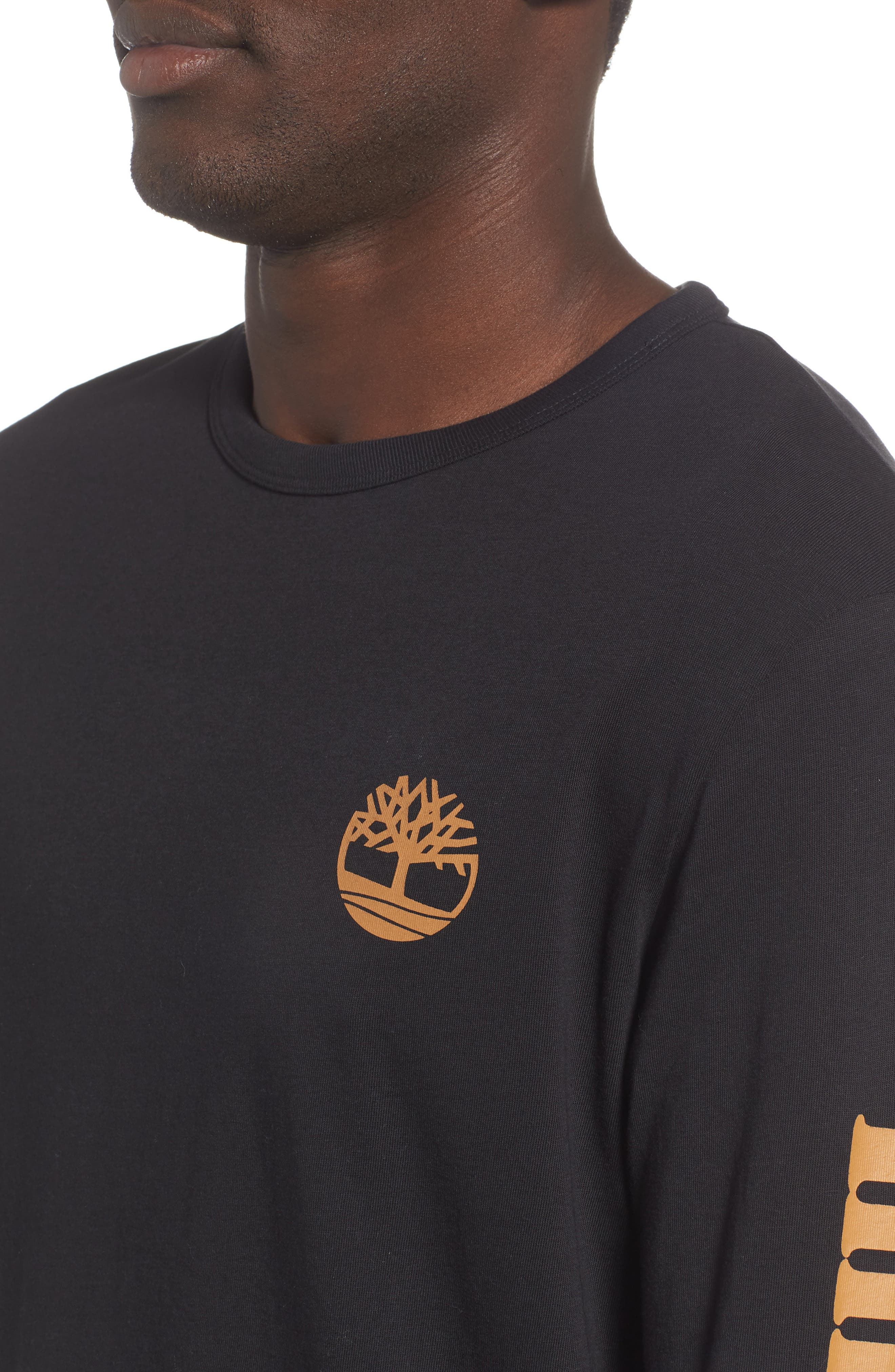 Long Sleeve Logo T-Shirt,                             Alternate thumbnail 4, color,                             BLACK