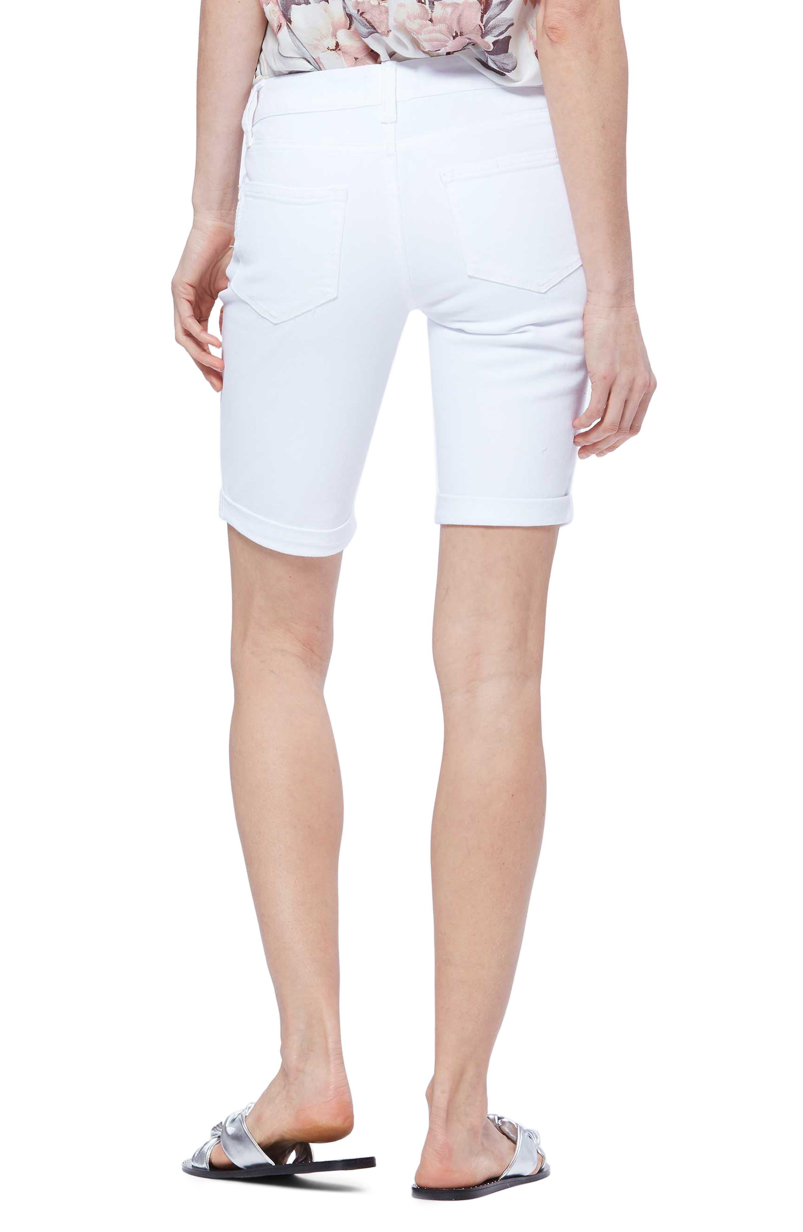 PAIGE,                             Jax Denim Bermuda Shorts,                             Alternate thumbnail 2, color,                             CRISP WHITE