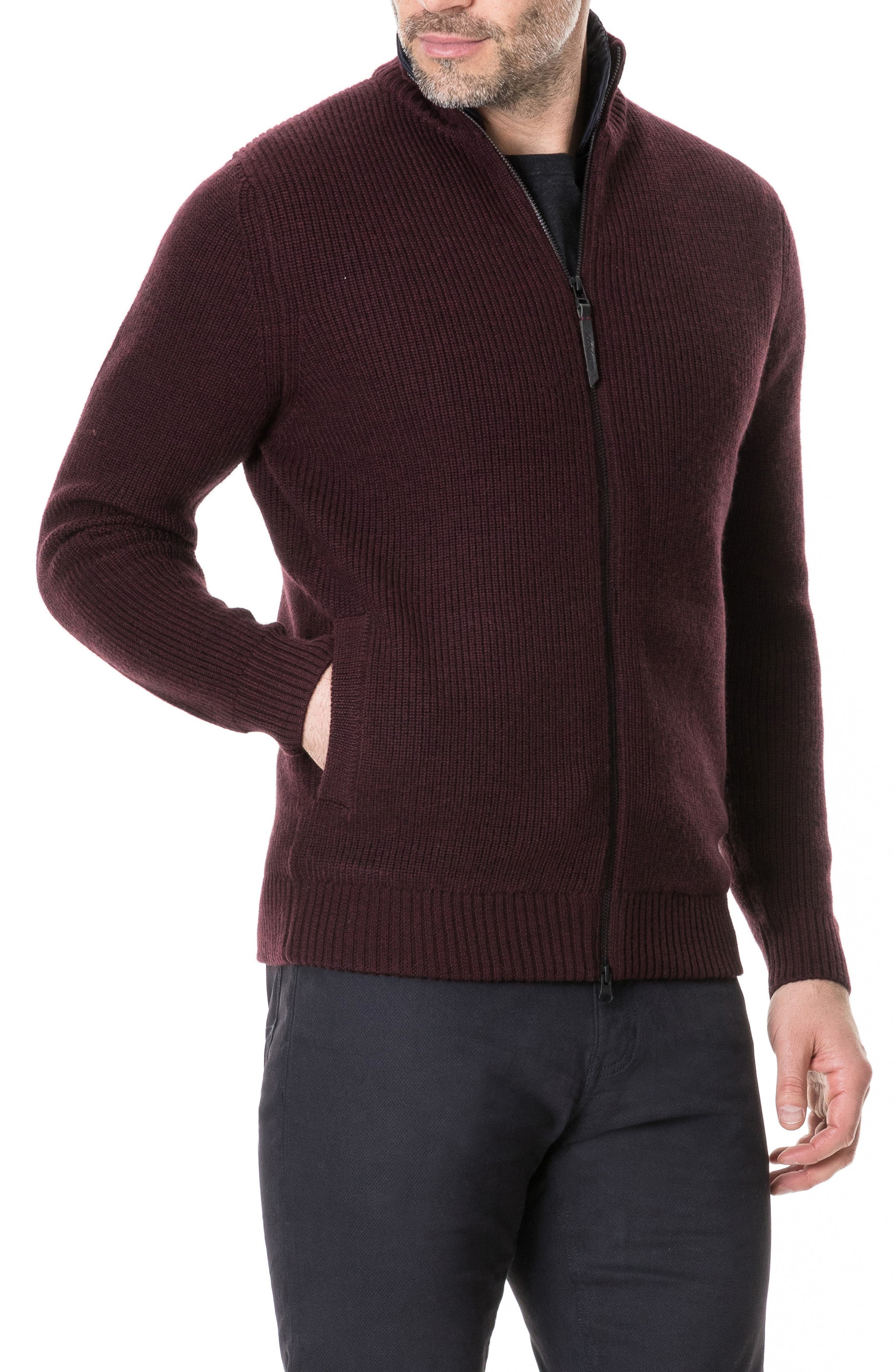 Camerons Track Zip Wool Sweater,                             Alternate thumbnail 3, color,                             BURGUNDY