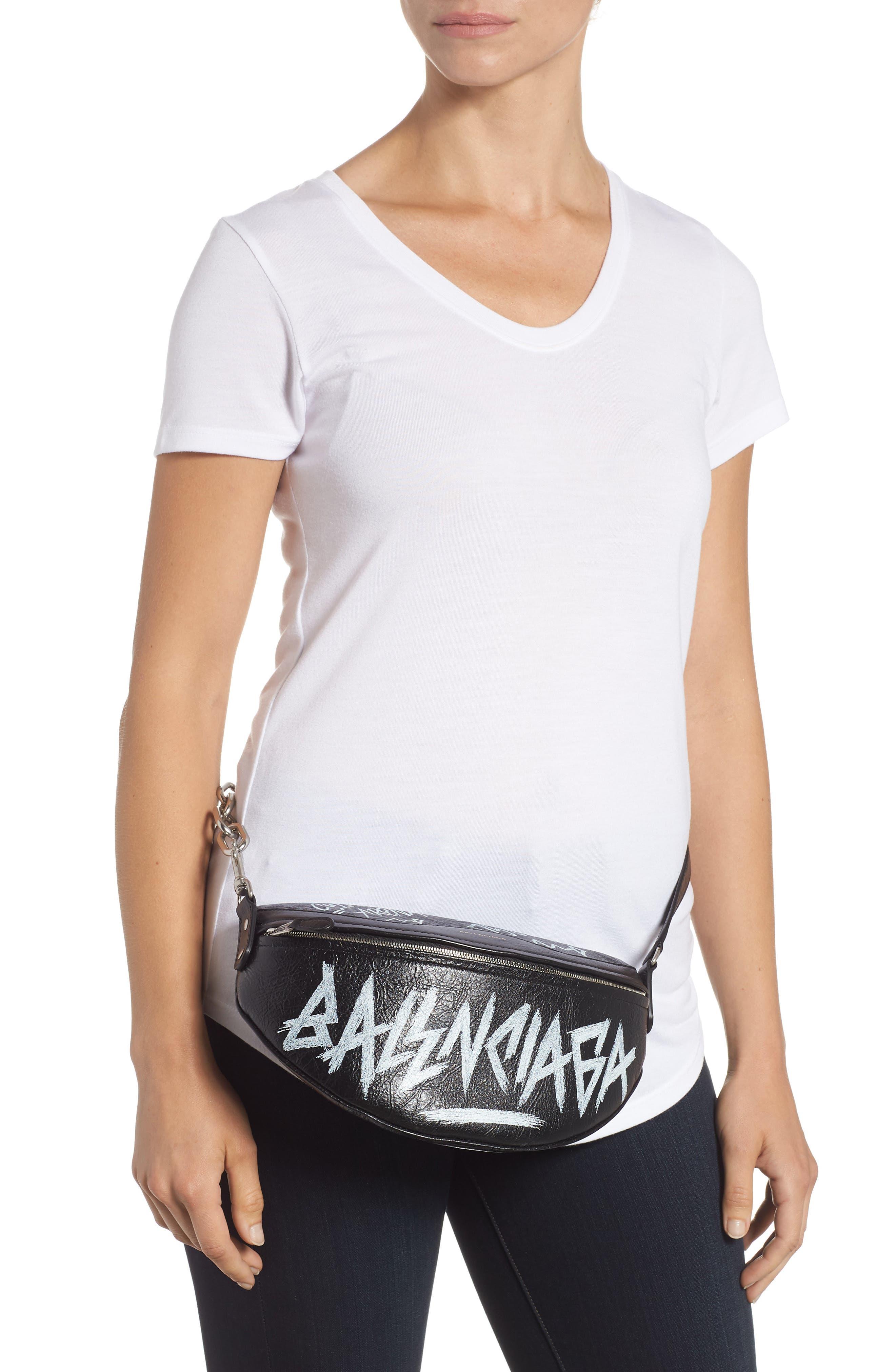 Graffiti Souvenir Leather Belt Bag,                             Alternate thumbnail 2, color,                             NOIR/ BLANC