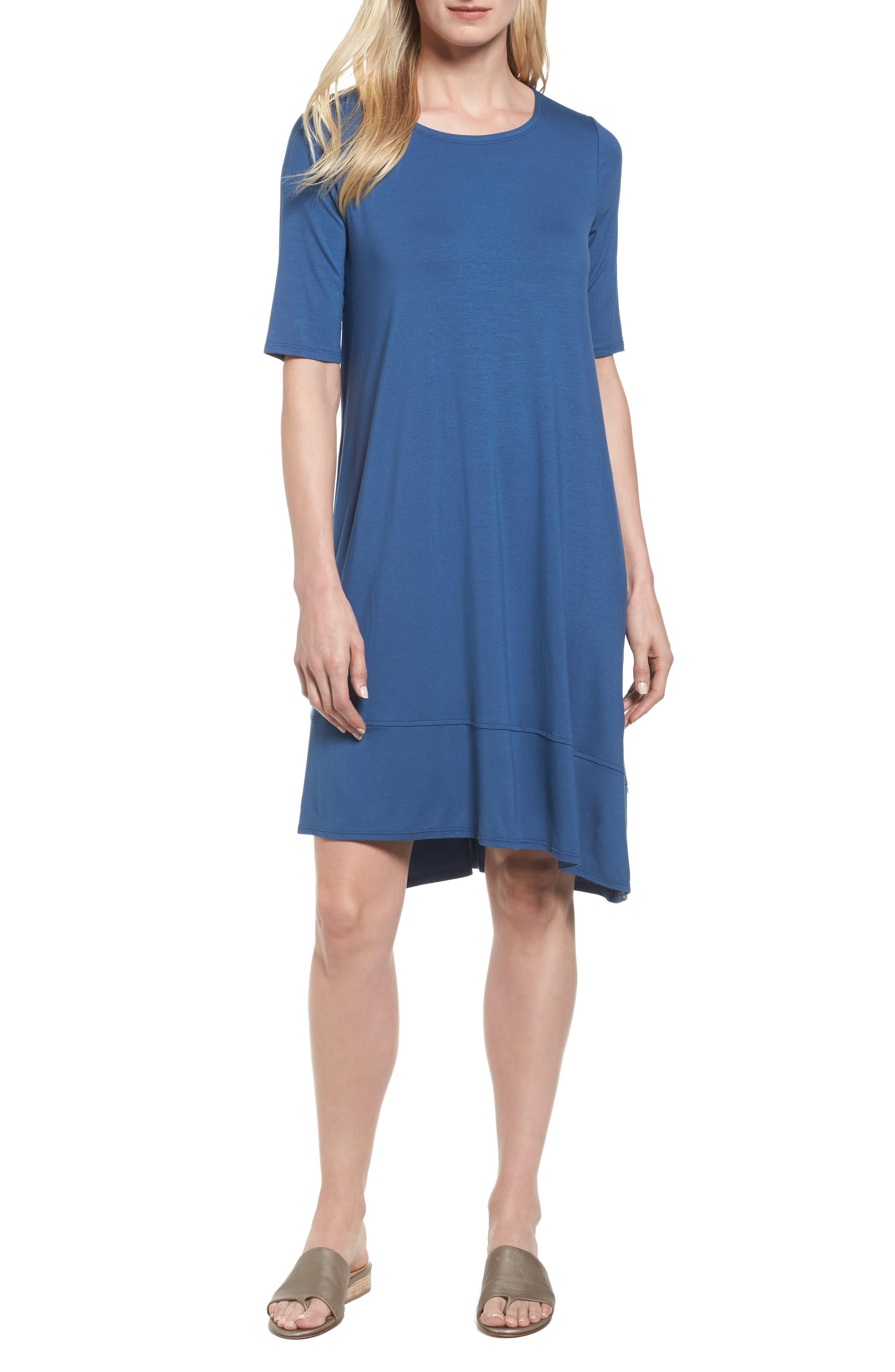 Jersey Asymmetrical A-Line Dress,                             Main thumbnail 4, color,