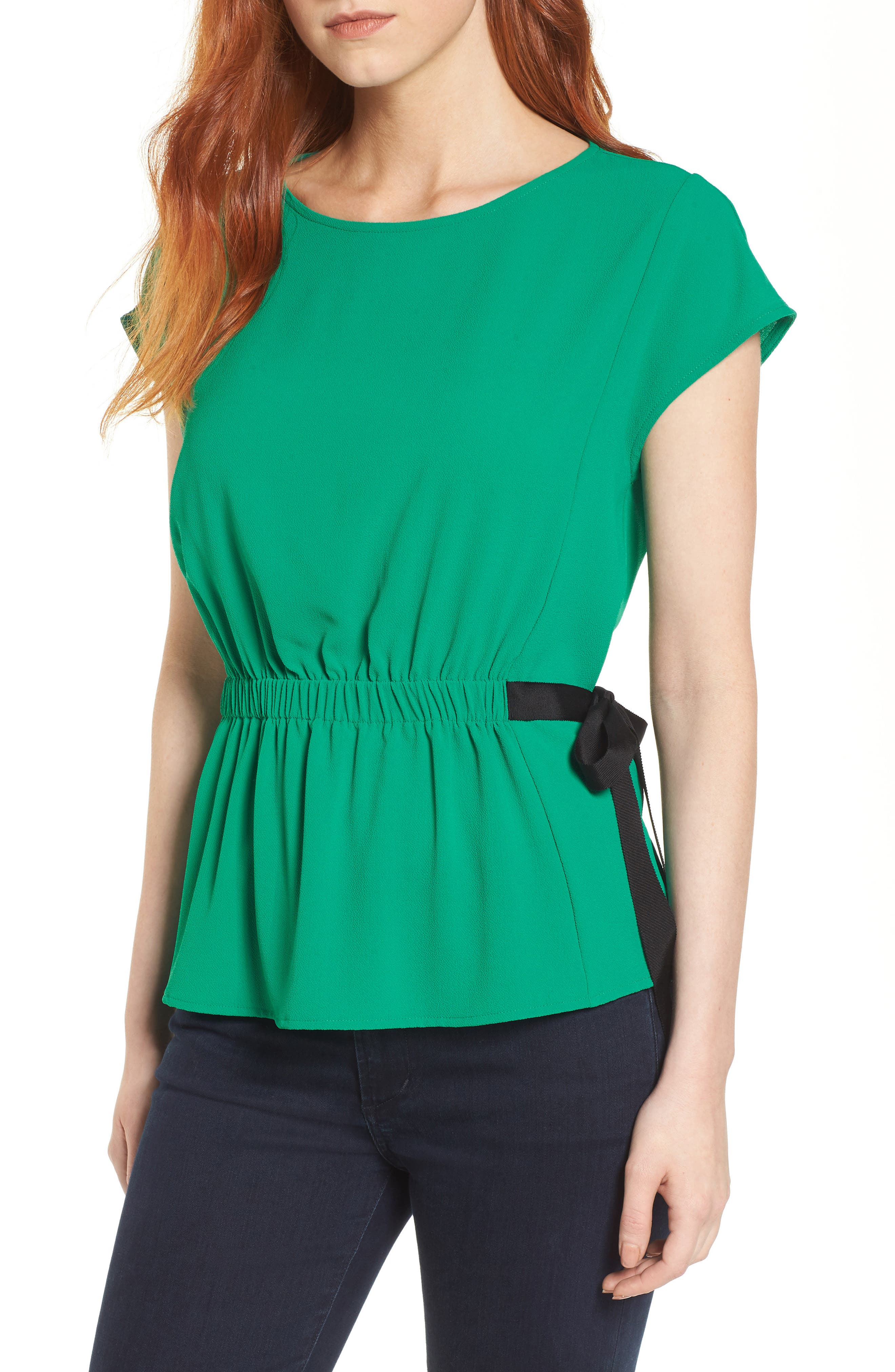 Gathered Waist Side Tie Top,                             Main thumbnail 2, color,