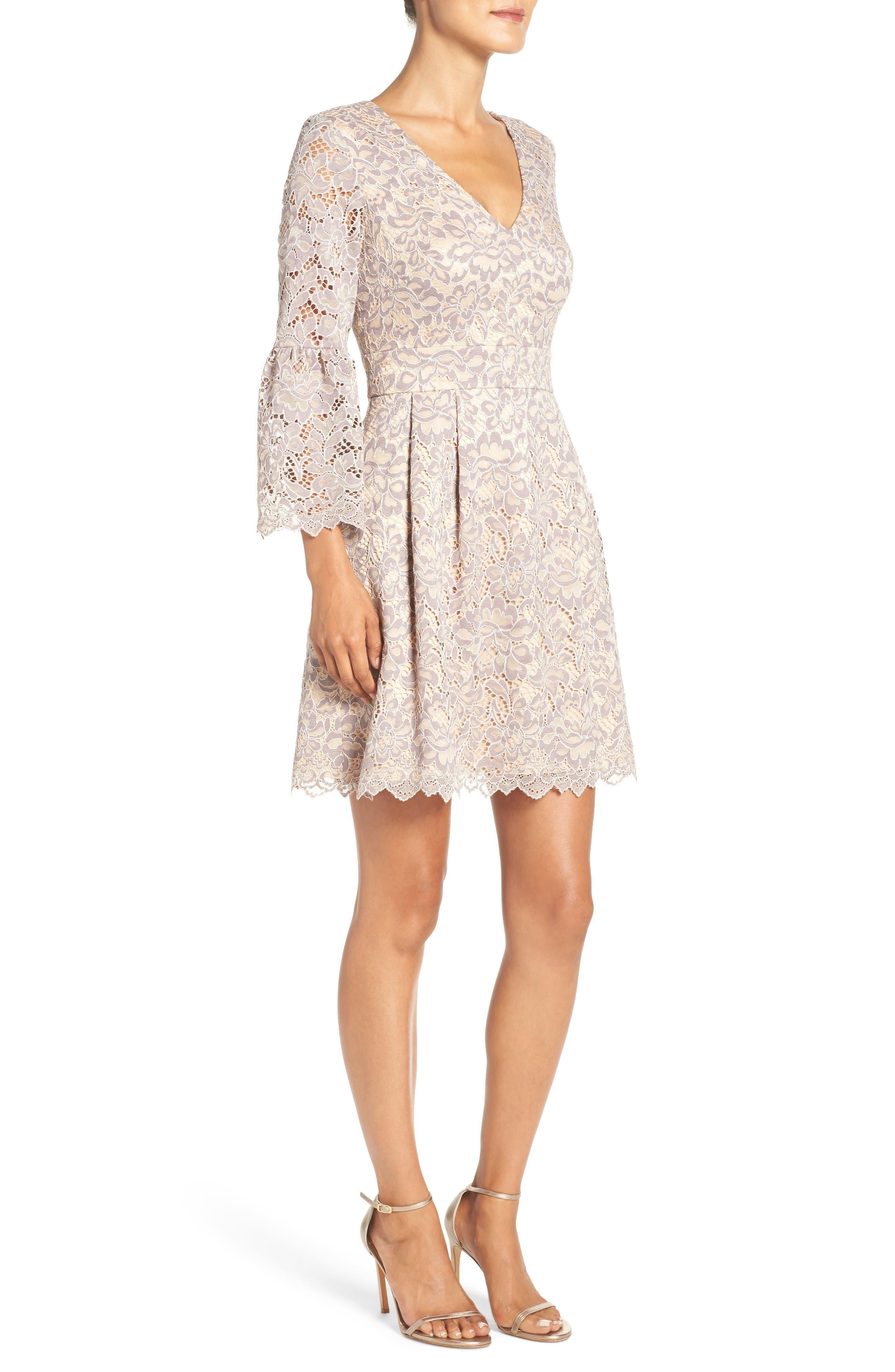 Lace Fit & Flare Dress,                             Alternate thumbnail 10, color,                             030
