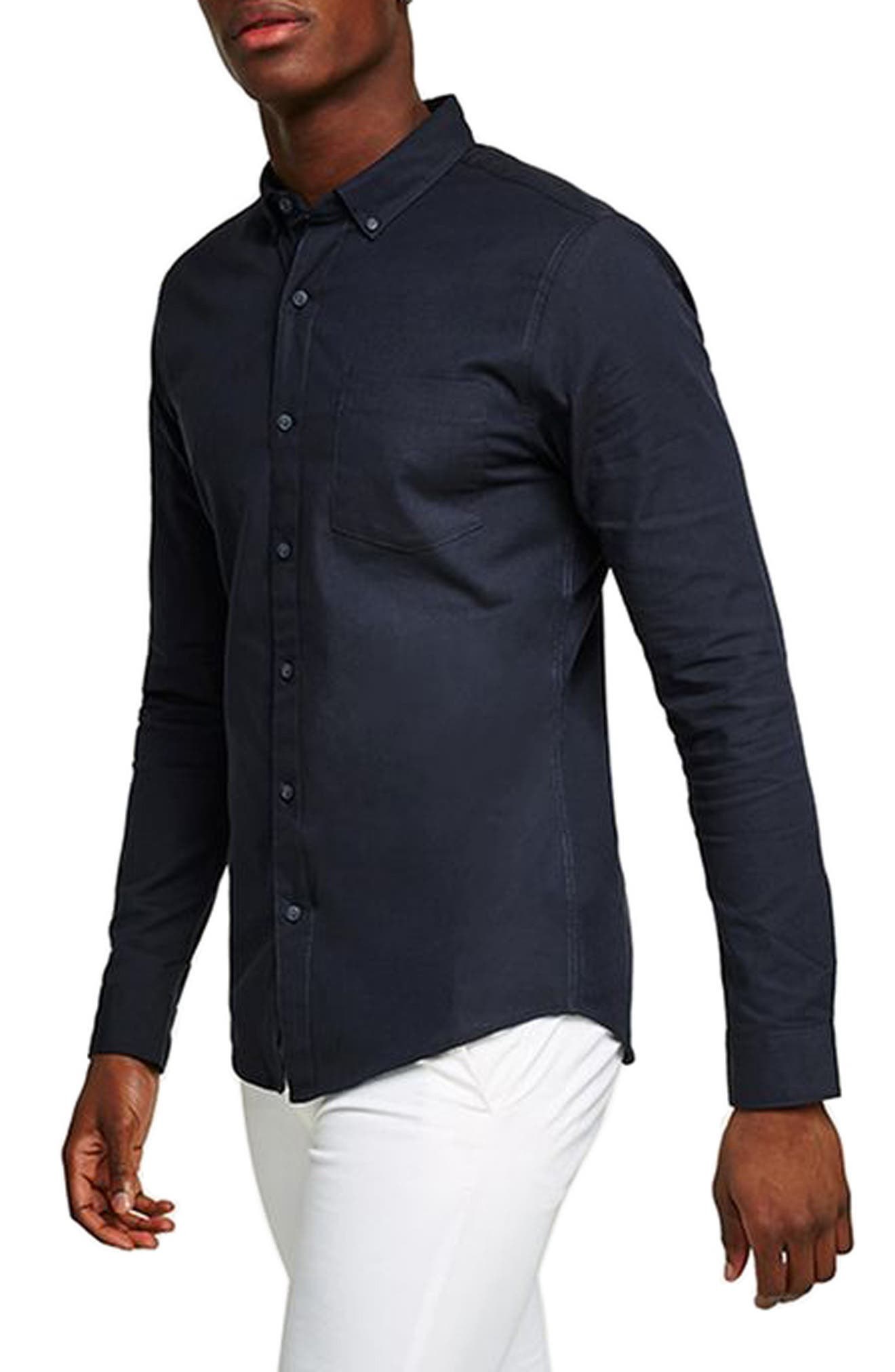 Oxford Shirt,                         Main,                         color, NAVY BLUE