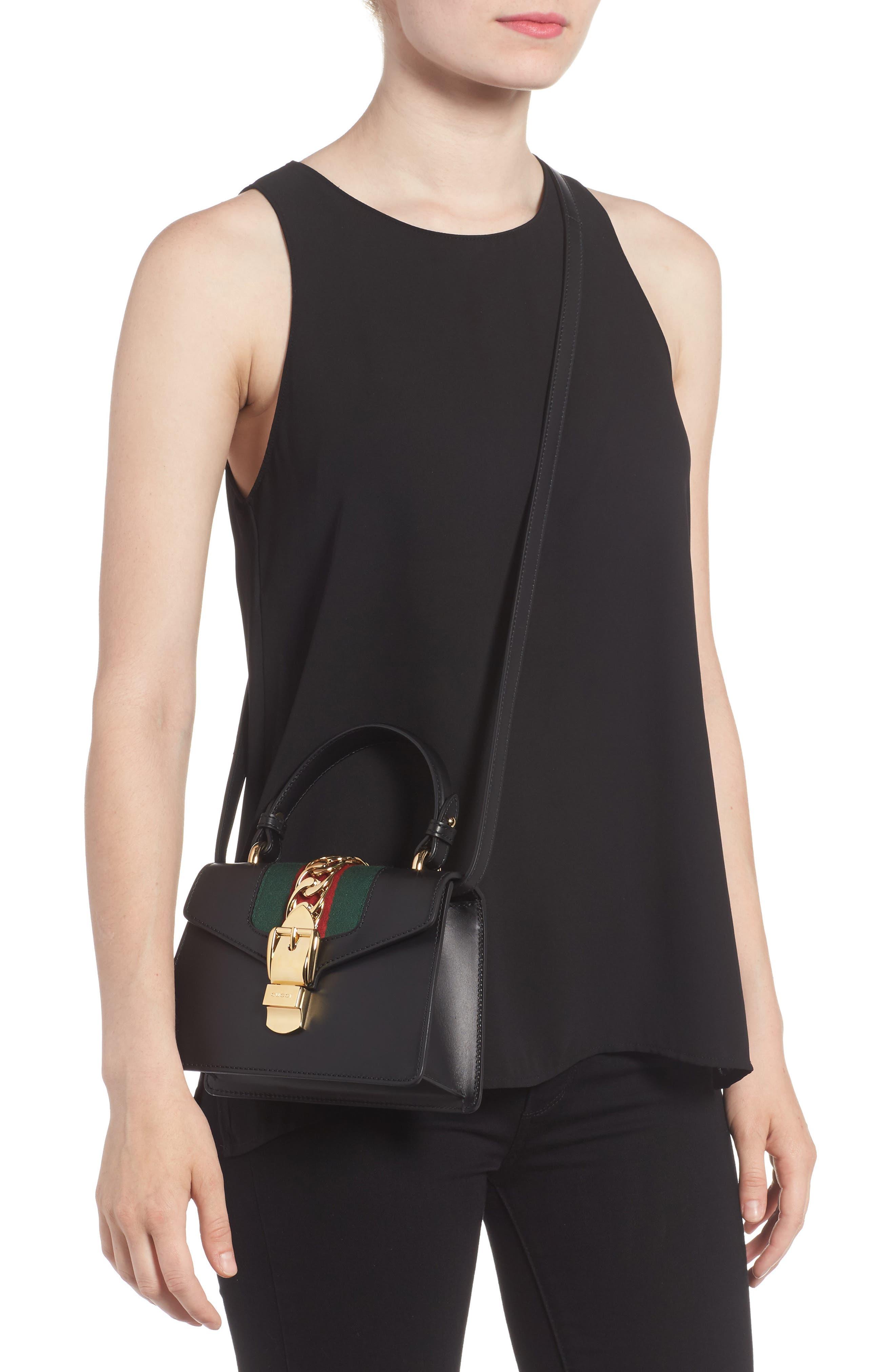 Mini Sylvie Top Handle Leather Shoulder Bag,                             Alternate thumbnail 2, color,                             8639 NERO/VRV