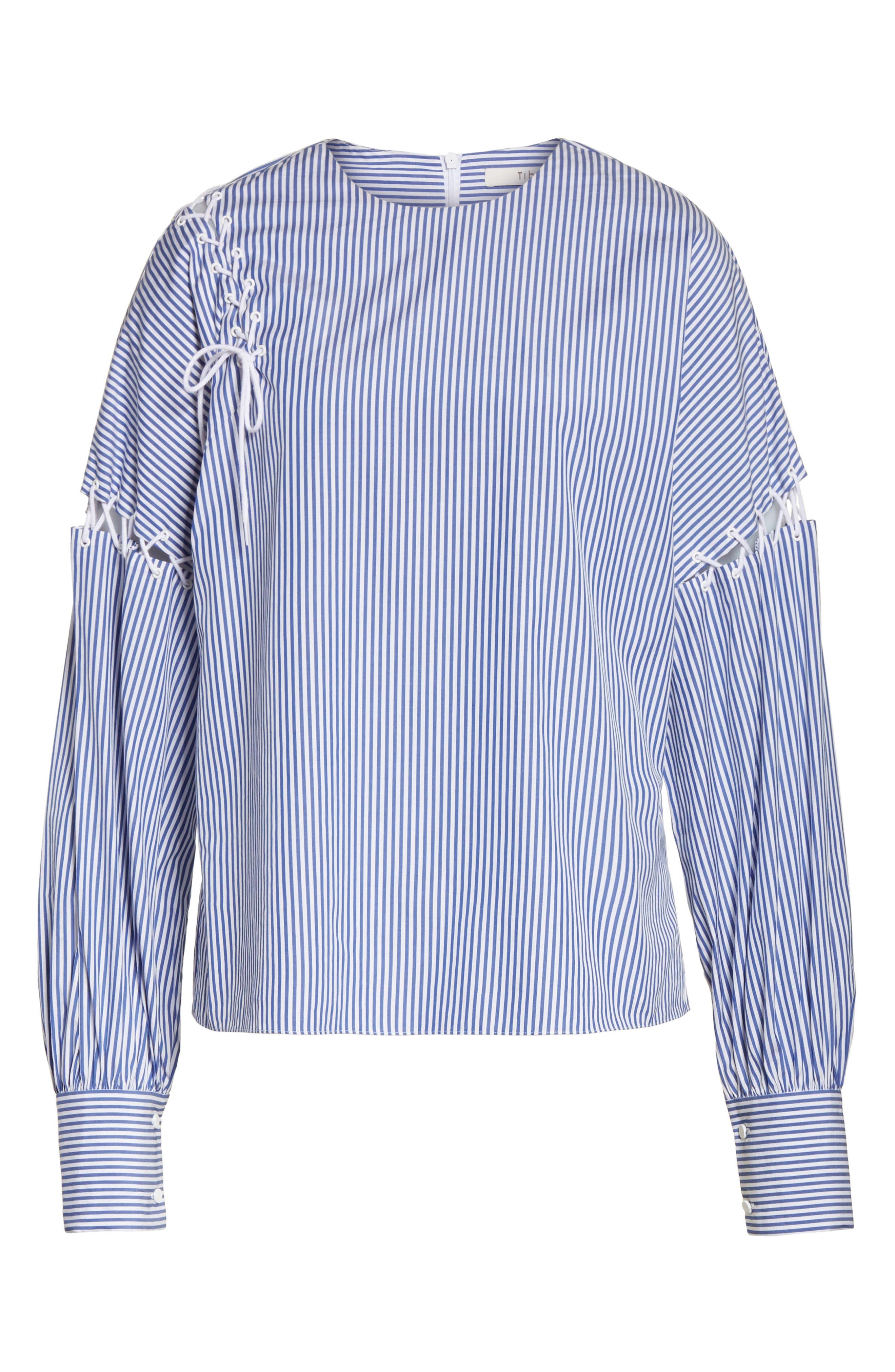 Shirting Stripe Top,                             Alternate thumbnail 6, color,
