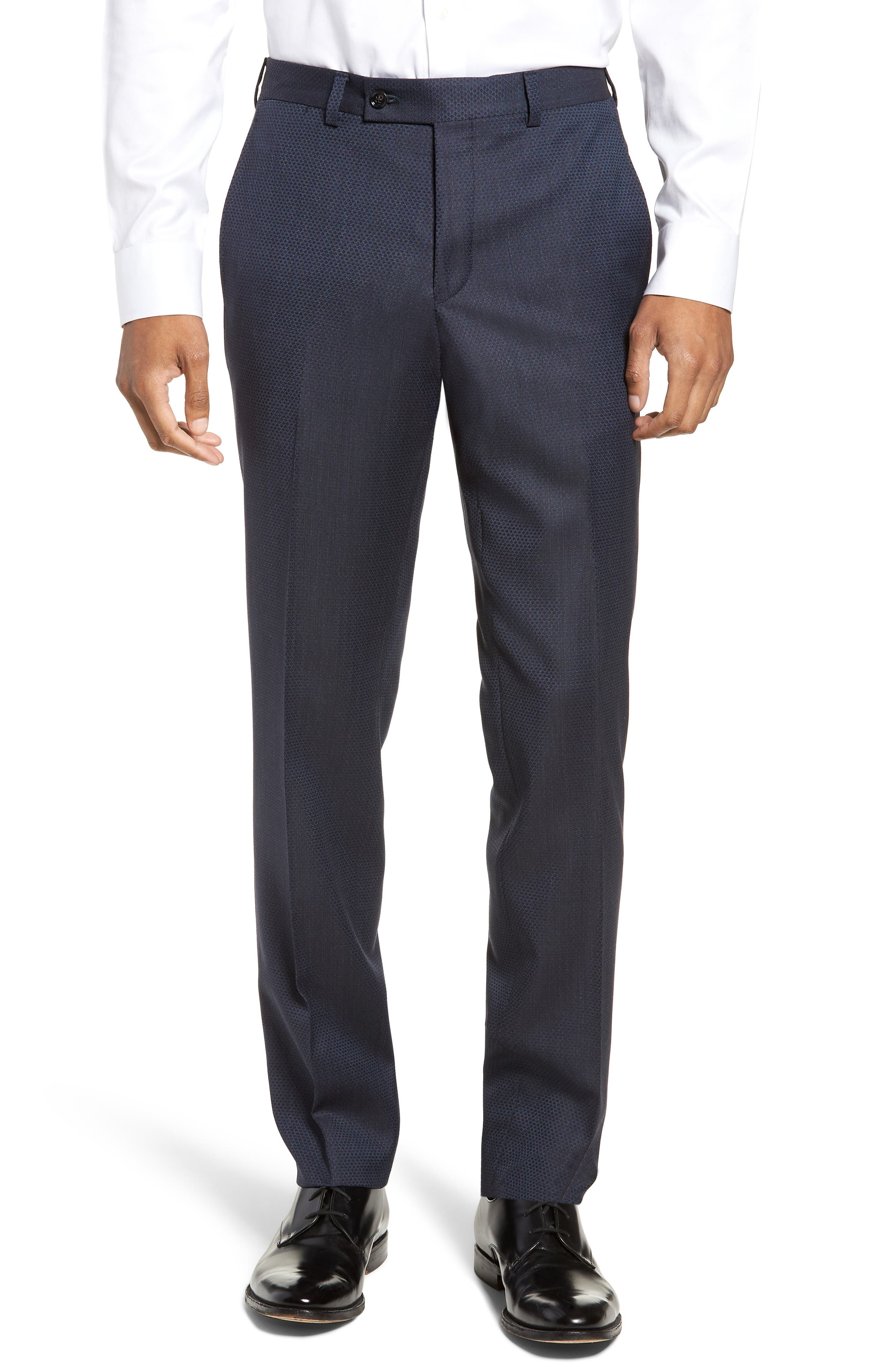 Jefferson Flat Front Solid Wool Trousers,                             Main thumbnail 1, color,                             400