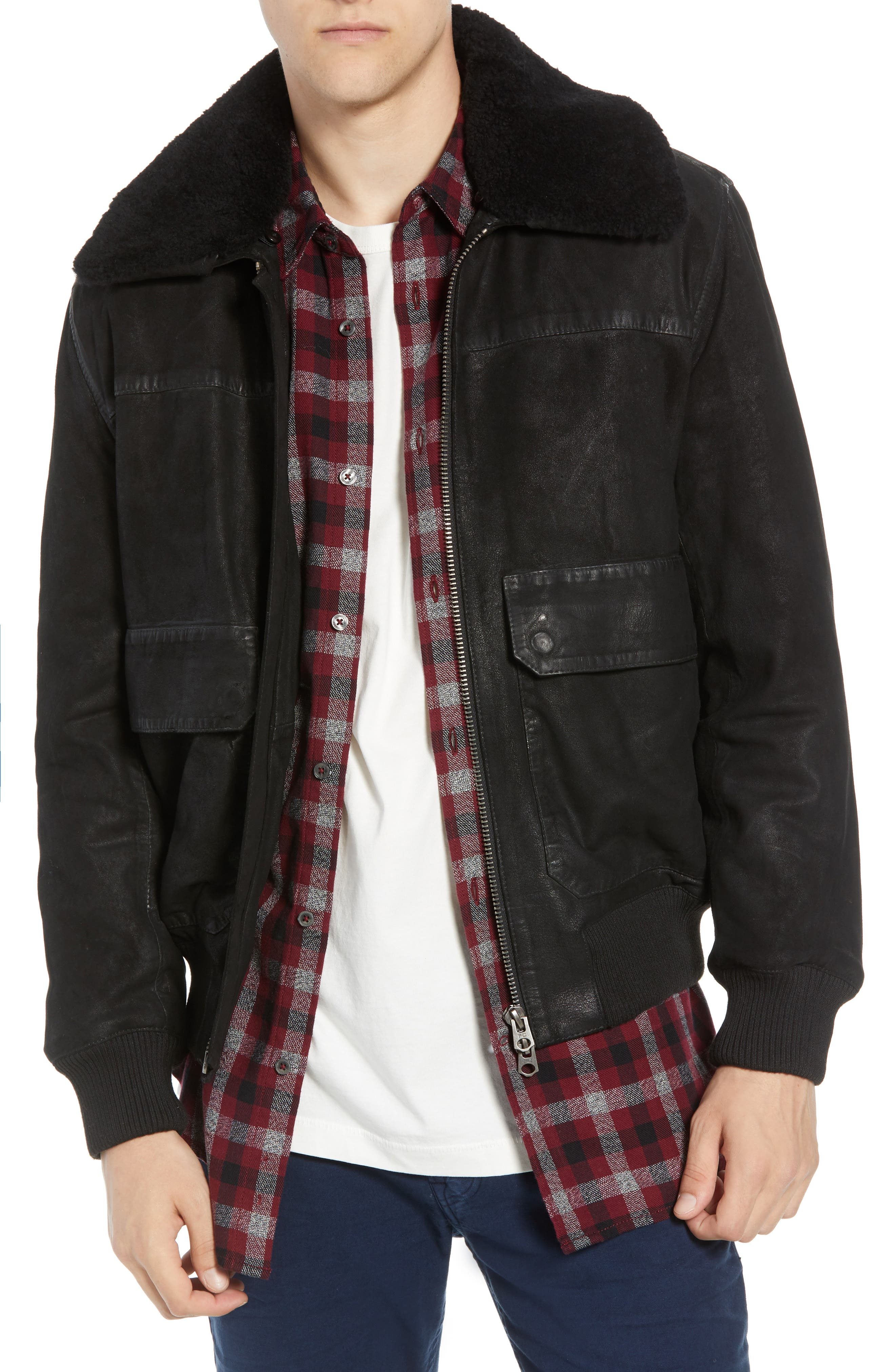 Washed Sheepskin Leather Jacket with Faux Shearling Trim,                         Main,                         color, BLACK