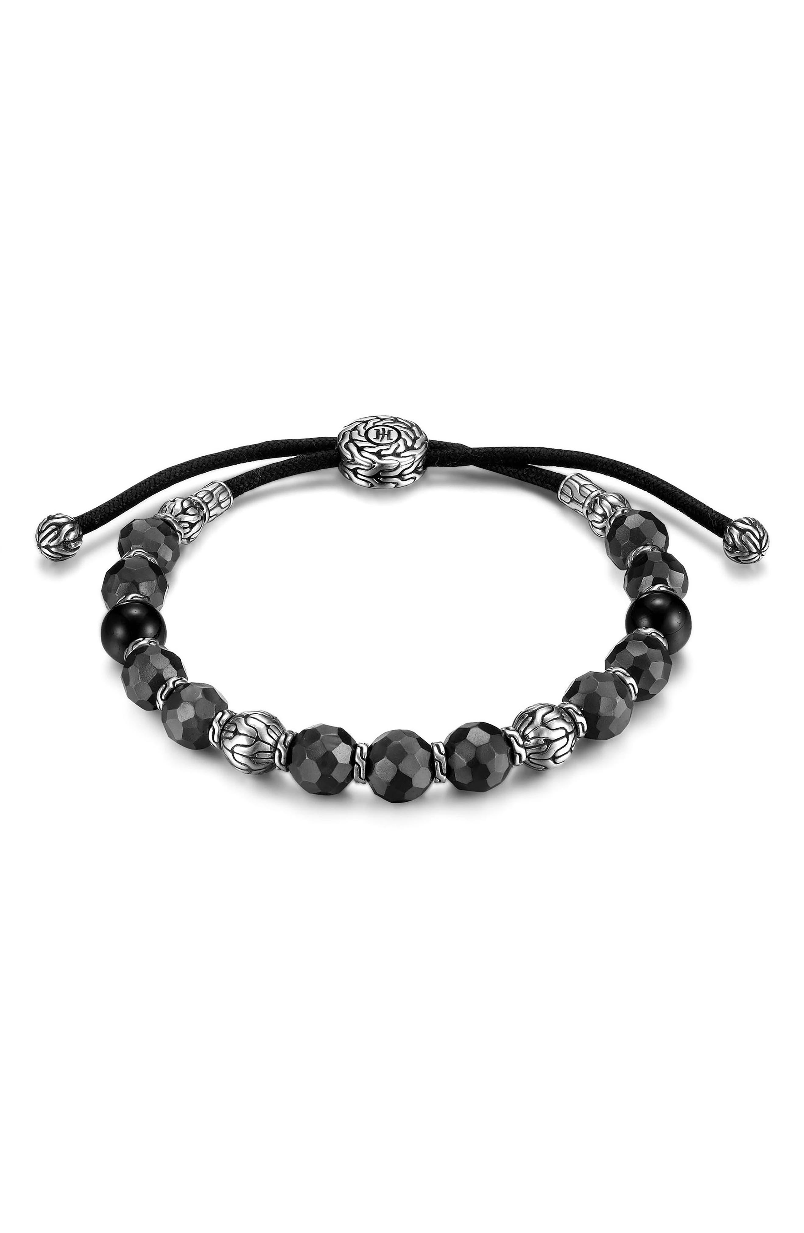 Men's Hammered Bead Bracelet,                         Main,                         color, SILVER/ BLACK TOURMALINE