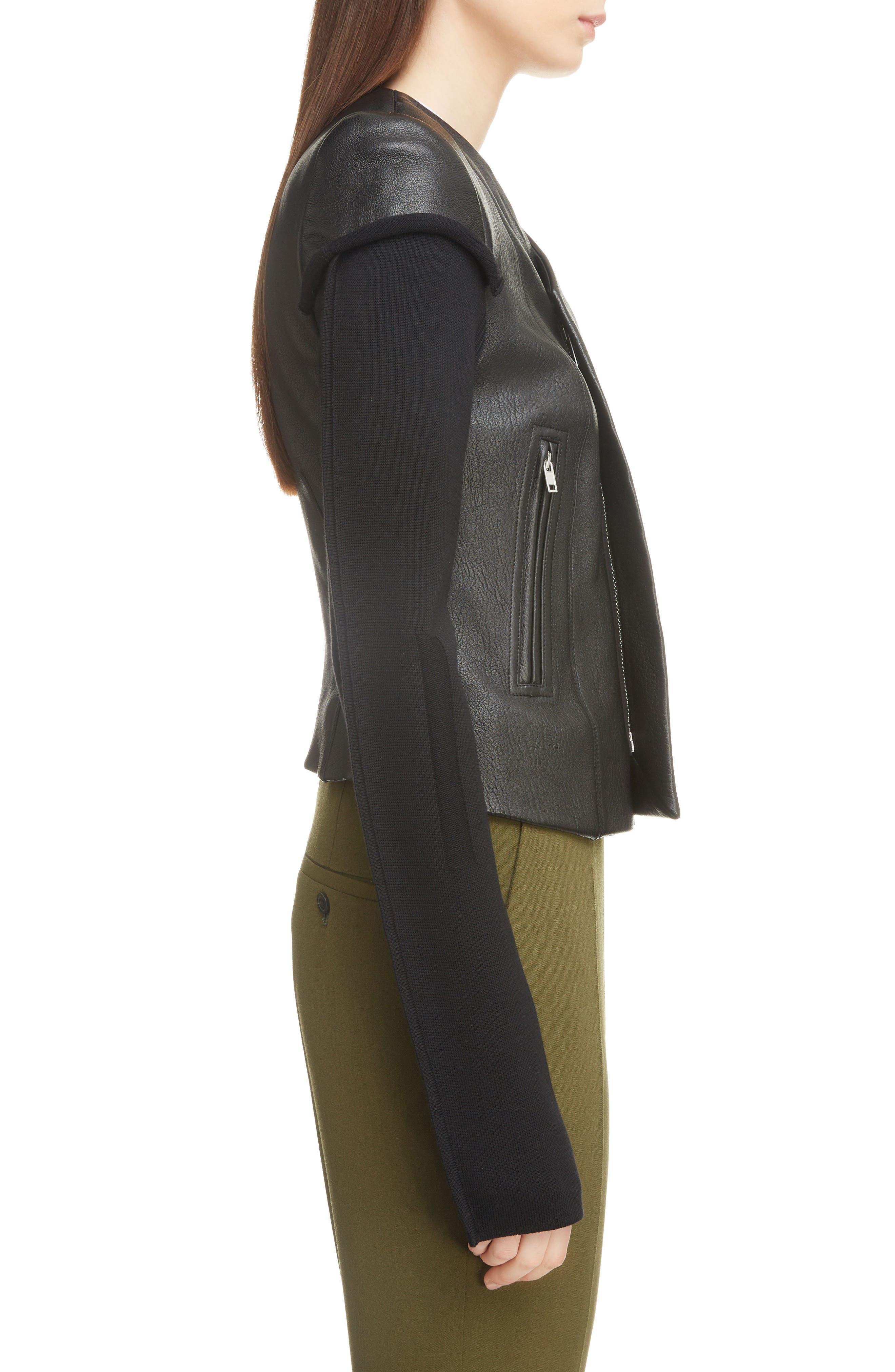 V-Neck Leather Biker Jacket,                             Alternate thumbnail 3, color,                             BLACK