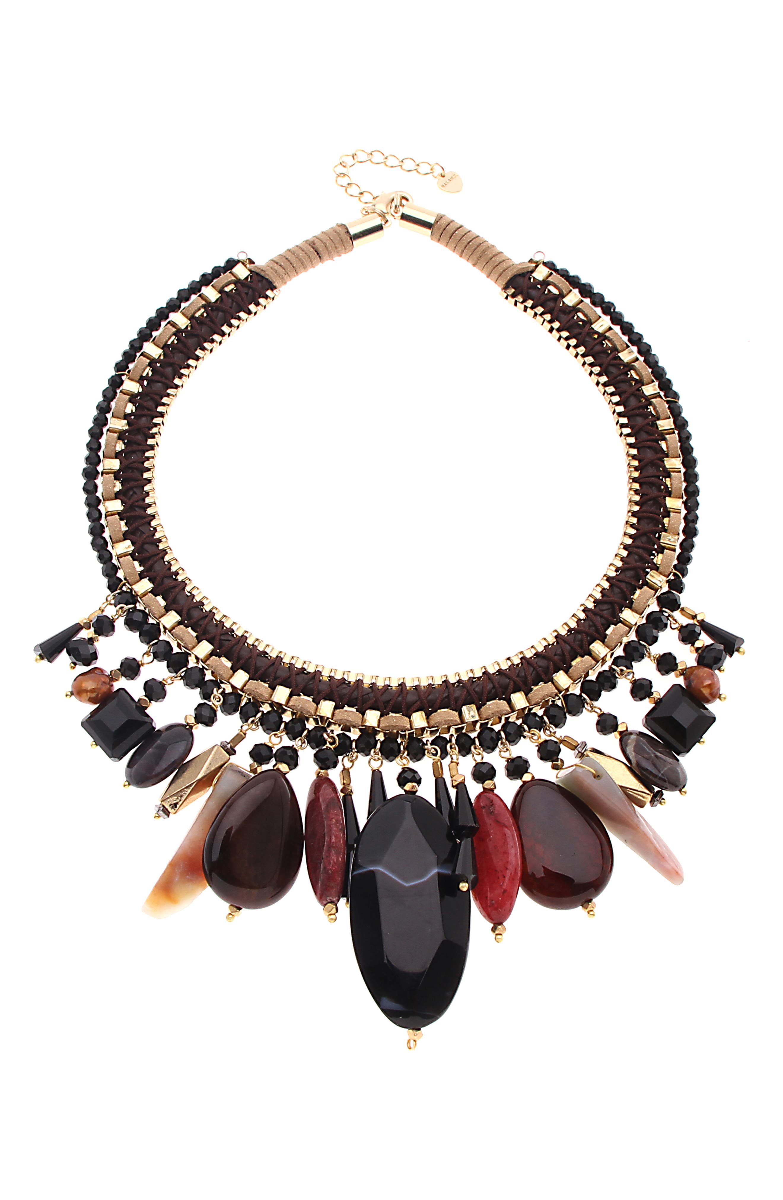 NAKAMOL DESIGN Martina Collar Necklace, Main, color, GOLD/ BLACK MIX