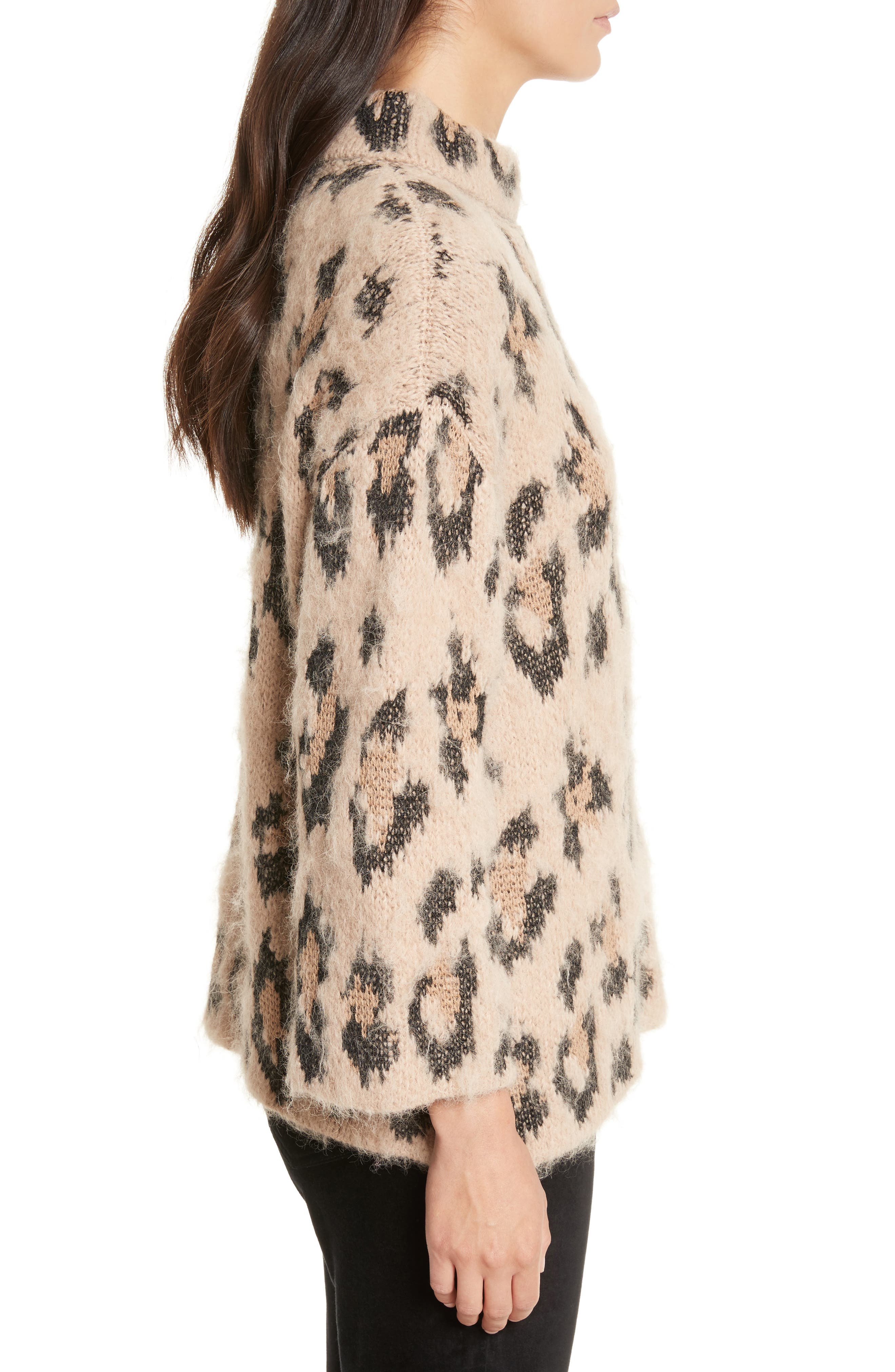 leopard print chunky sweater,                             Alternate thumbnail 3, color,                             206