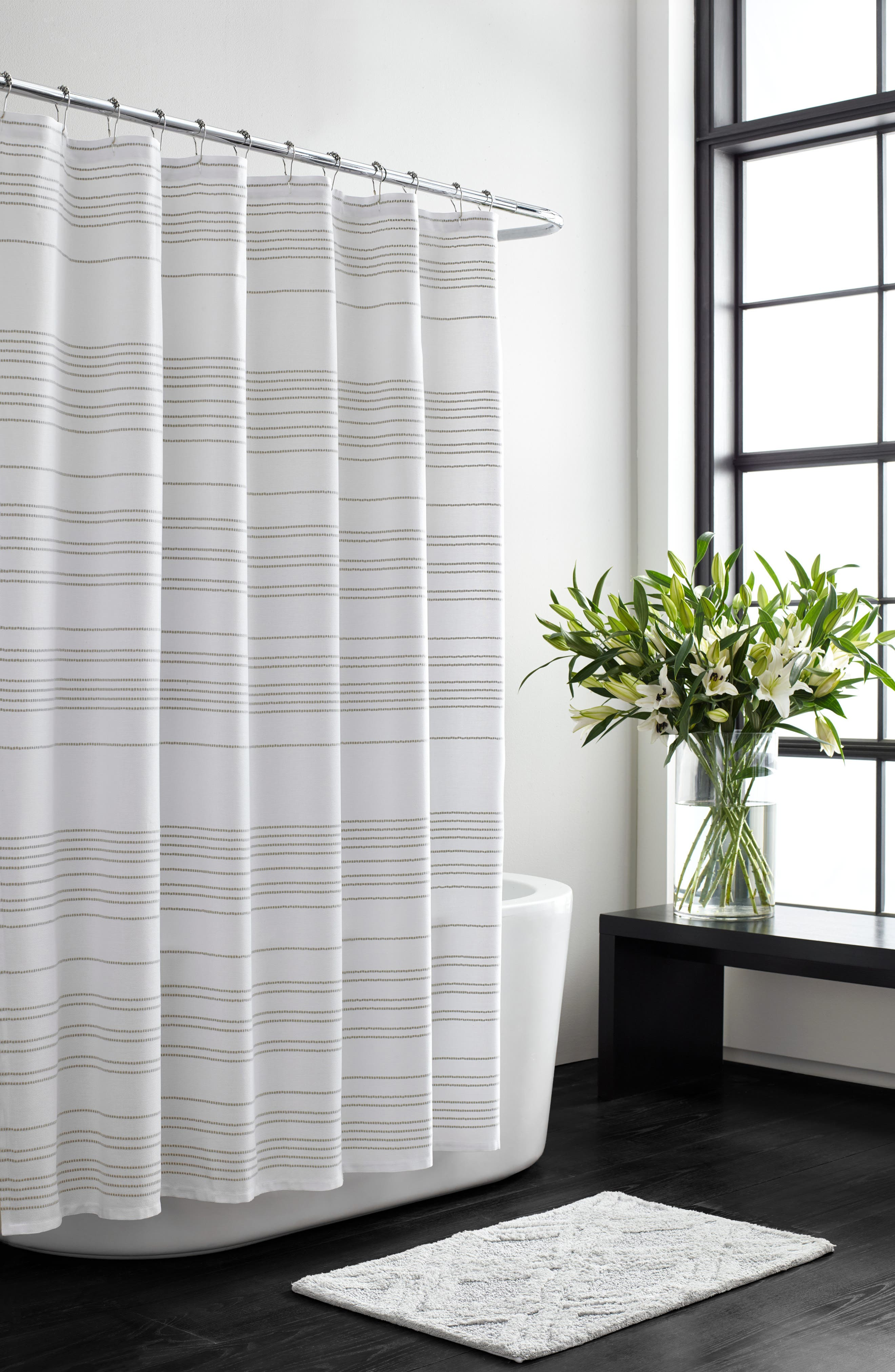 VERA WANG,                             Embroidered Stripe Shower Curtain,                             Main thumbnail 1, color,                             100