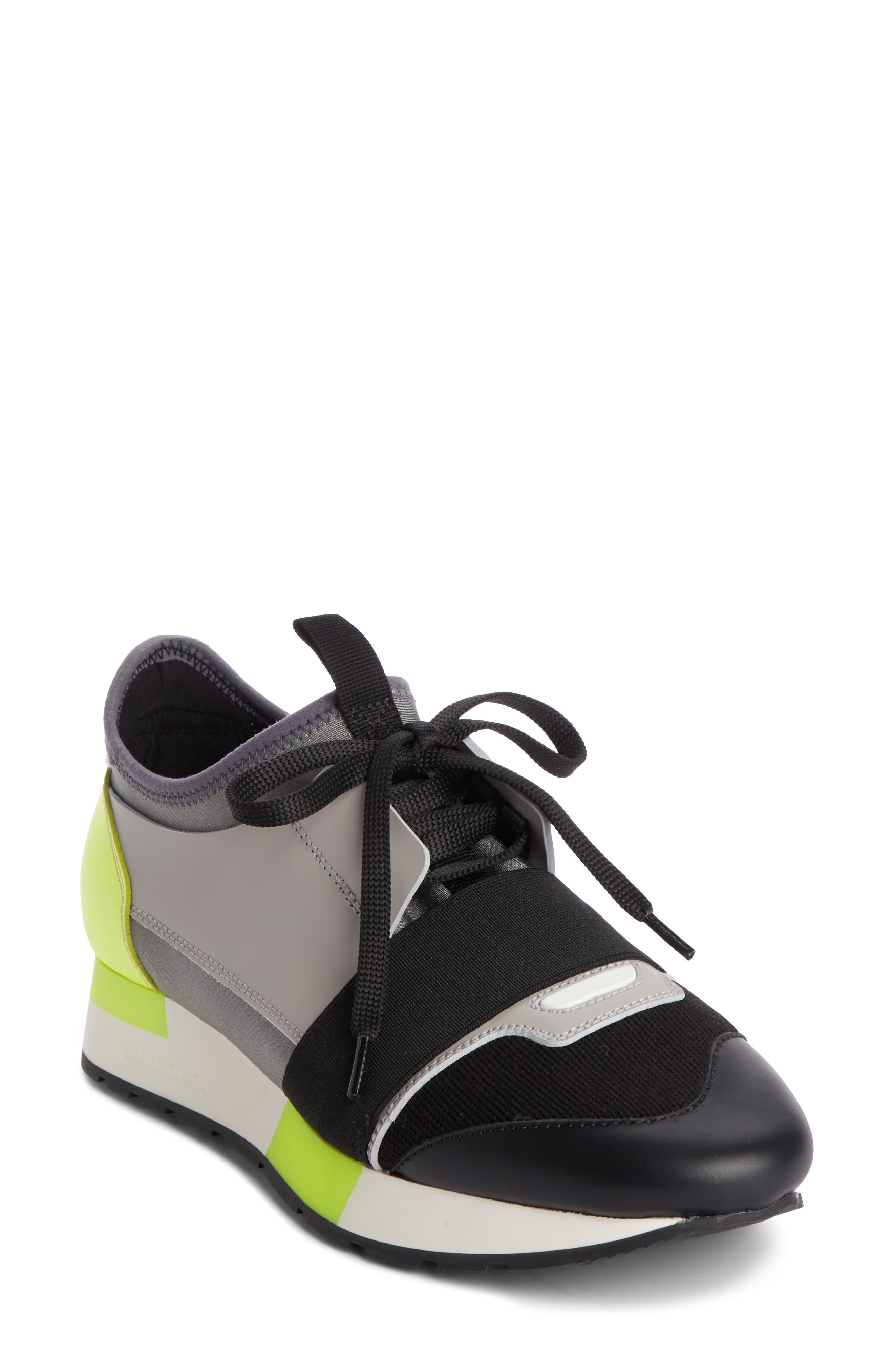 Lace-Up Sneaker,                             Main thumbnail 1, color,                             BLACK/ GREY/ YELLOW