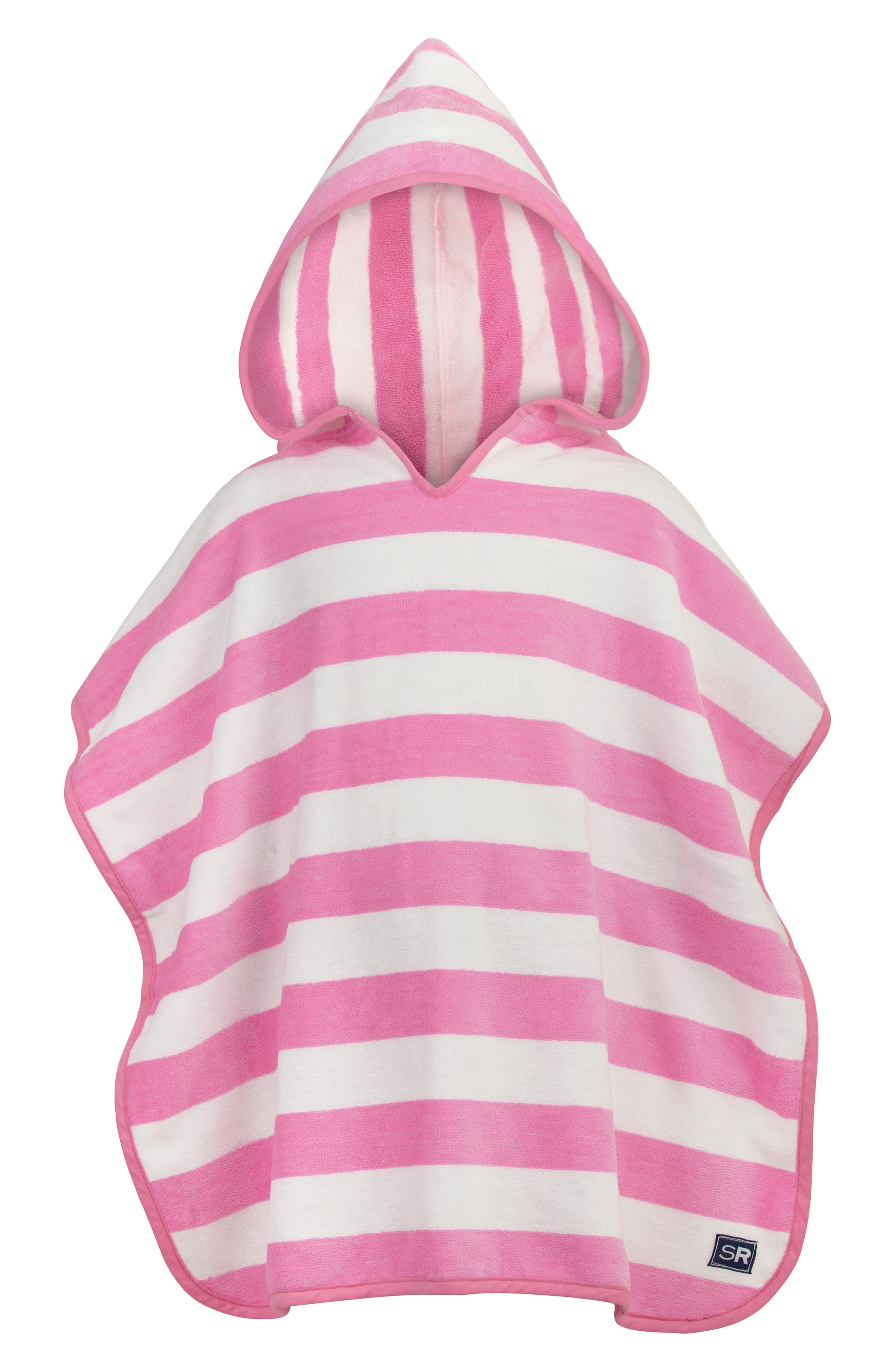 Pink Striped Hooded Towel,                         Main,                         color, PINK WHITE STRIPE