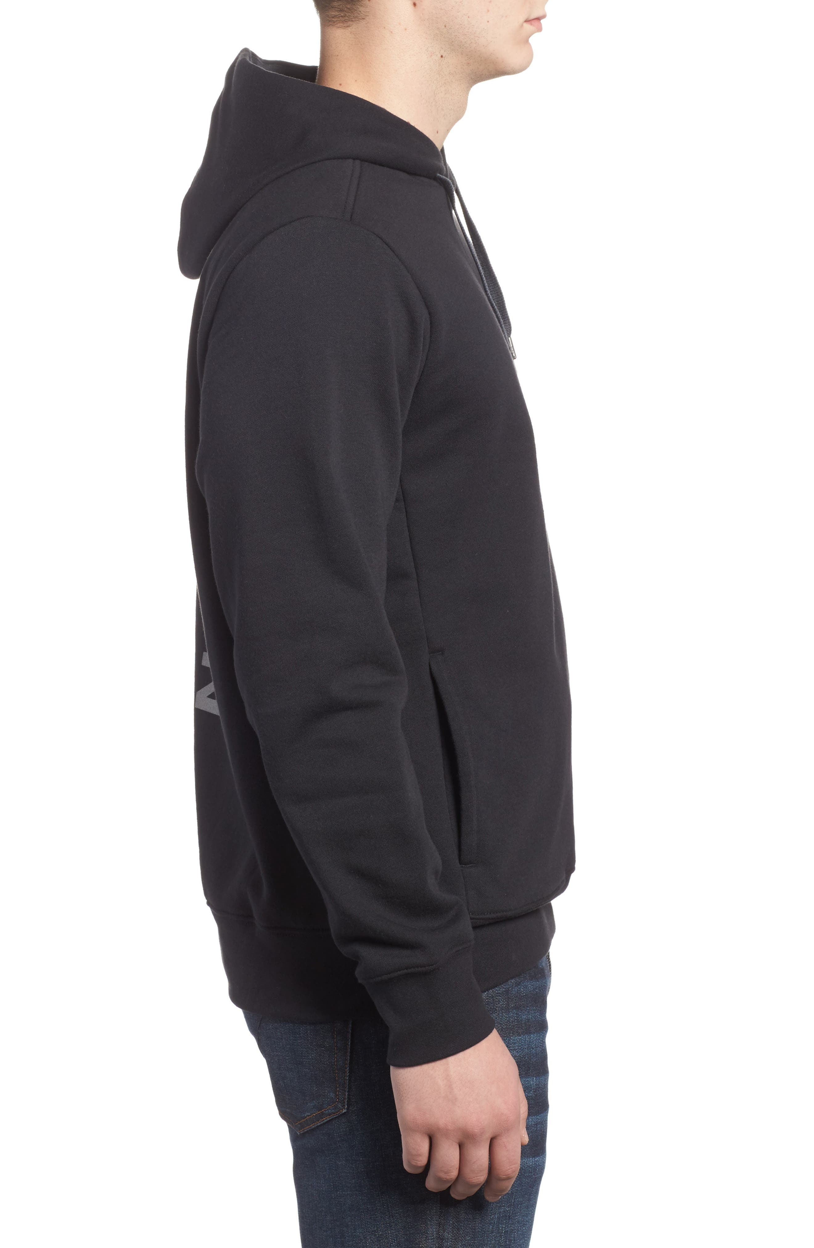 Trivert Cotton Blend Hoodie,                             Alternate thumbnail 3, color,                             001