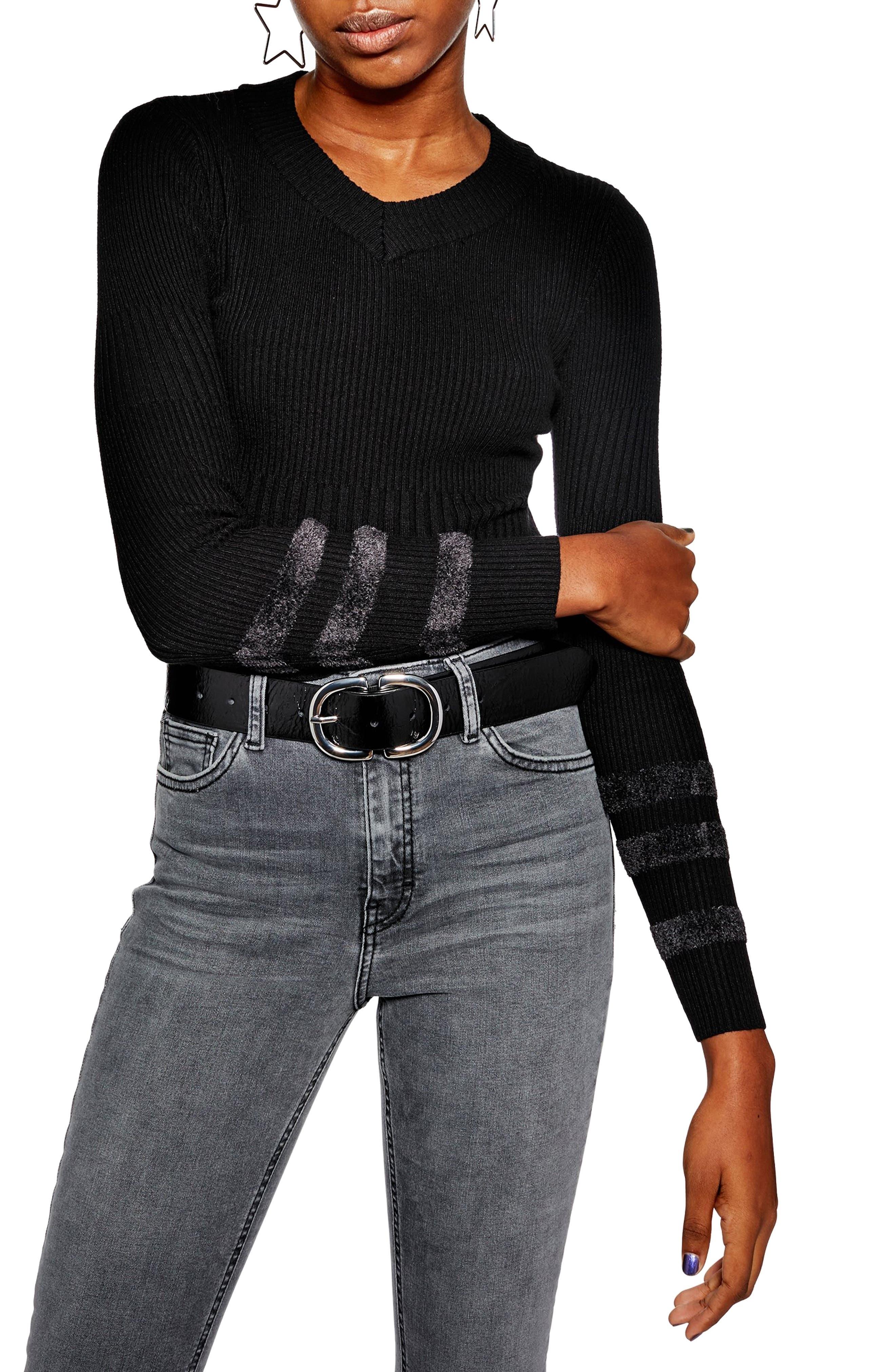 Bouclé Sleeve Sweater, Main, color, BLACK