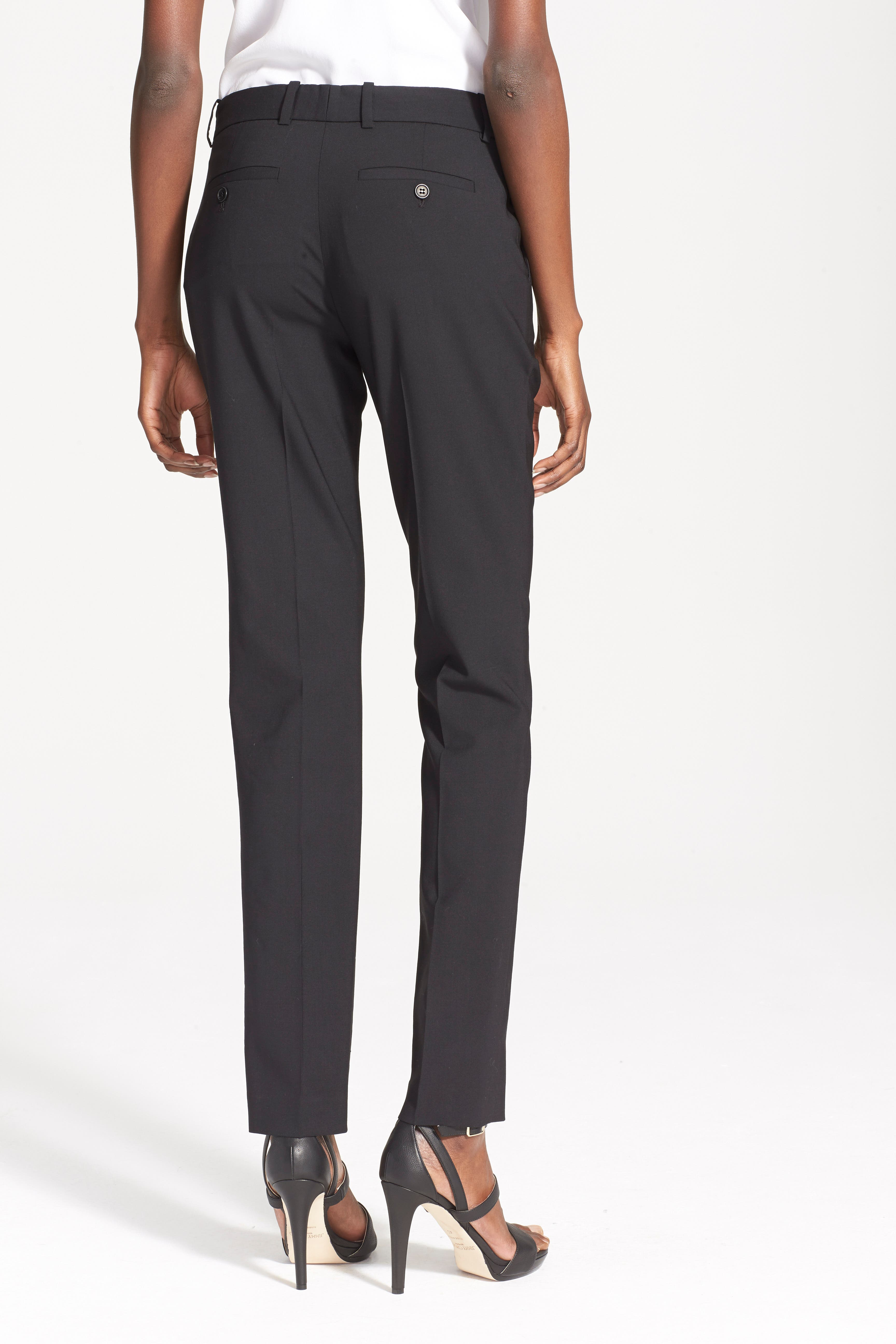 'Super Slim Edition' Stretch Wool Pants,                             Alternate thumbnail 6, color,                             001