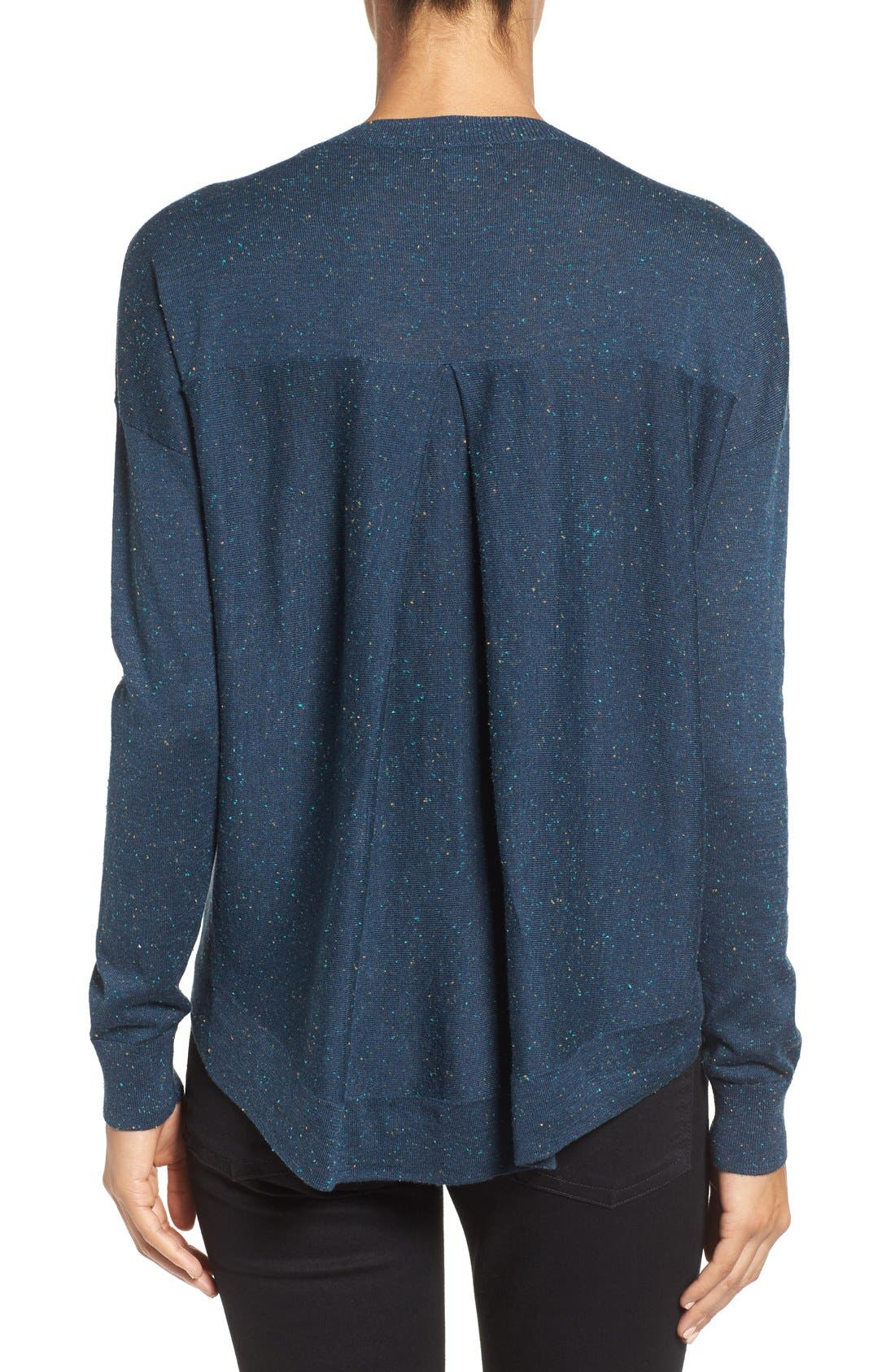 Pleat Back High/Low Crewneck Sweater,                             Alternate thumbnail 18, color,