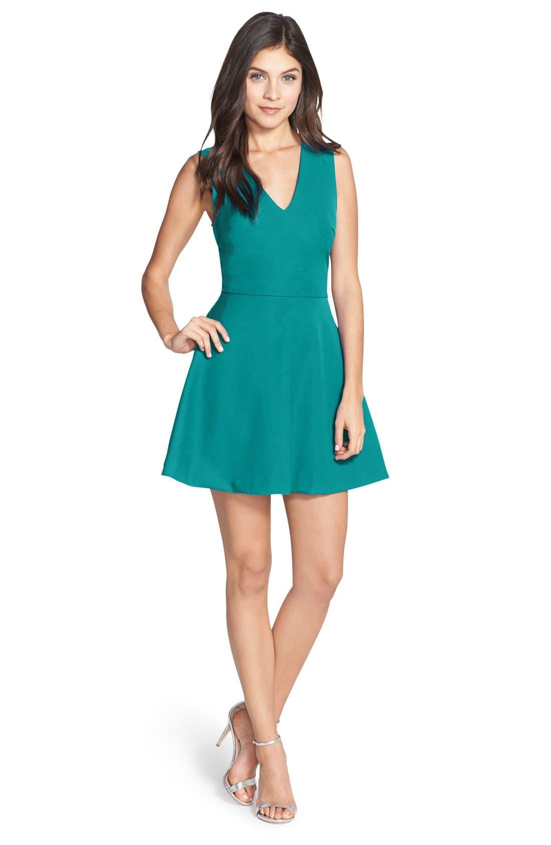 Bianca Back Cutout Fit & Flare Dress,                             Main thumbnail 6, color,