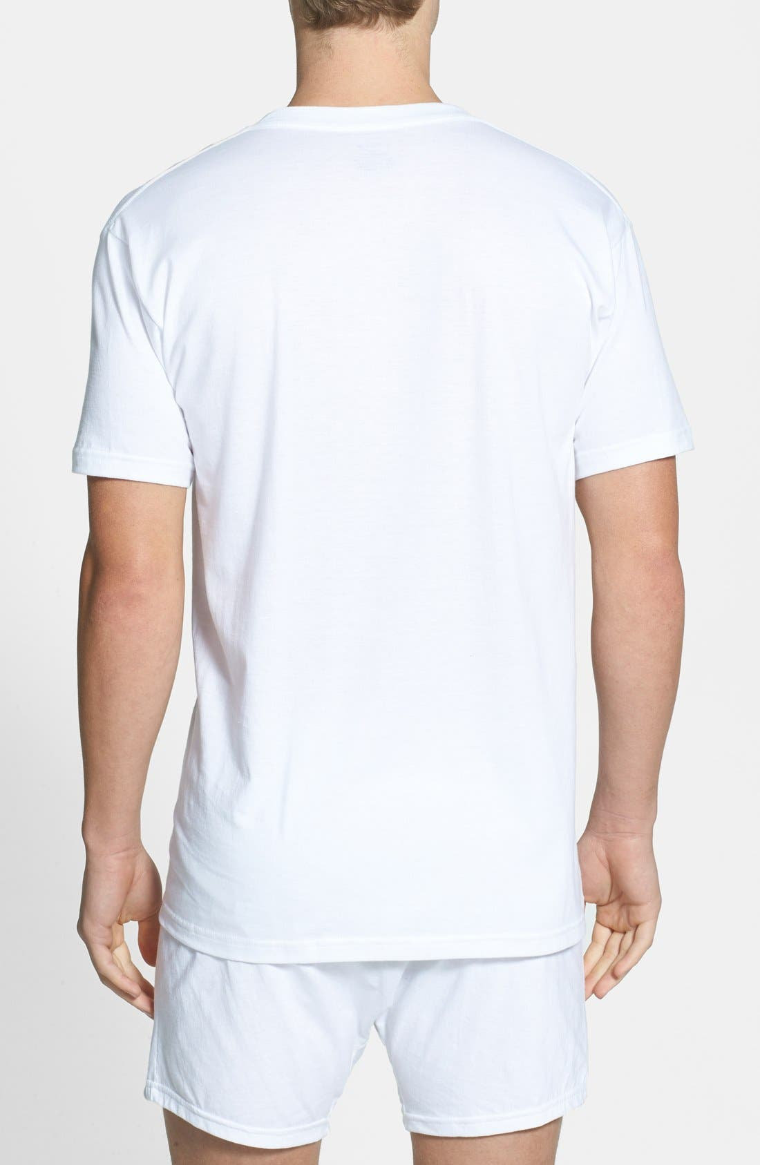 4-Pack Regular Fit Supima<sup>®</sup> Cotton V-Neck T-Shirts,                             Alternate thumbnail 8, color,                             WHITE