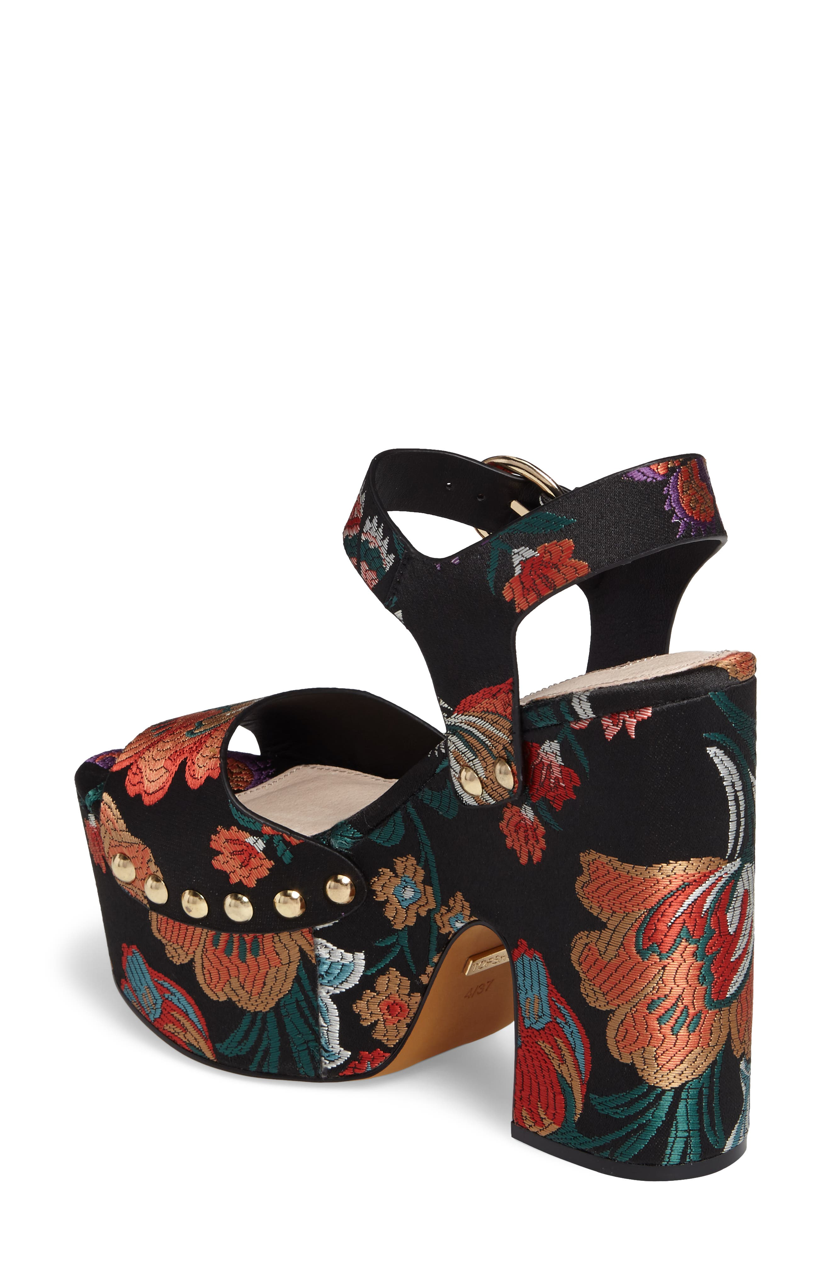 Lourdes Embroidered Platform Sandal,                             Alternate thumbnail 2, color,                             001