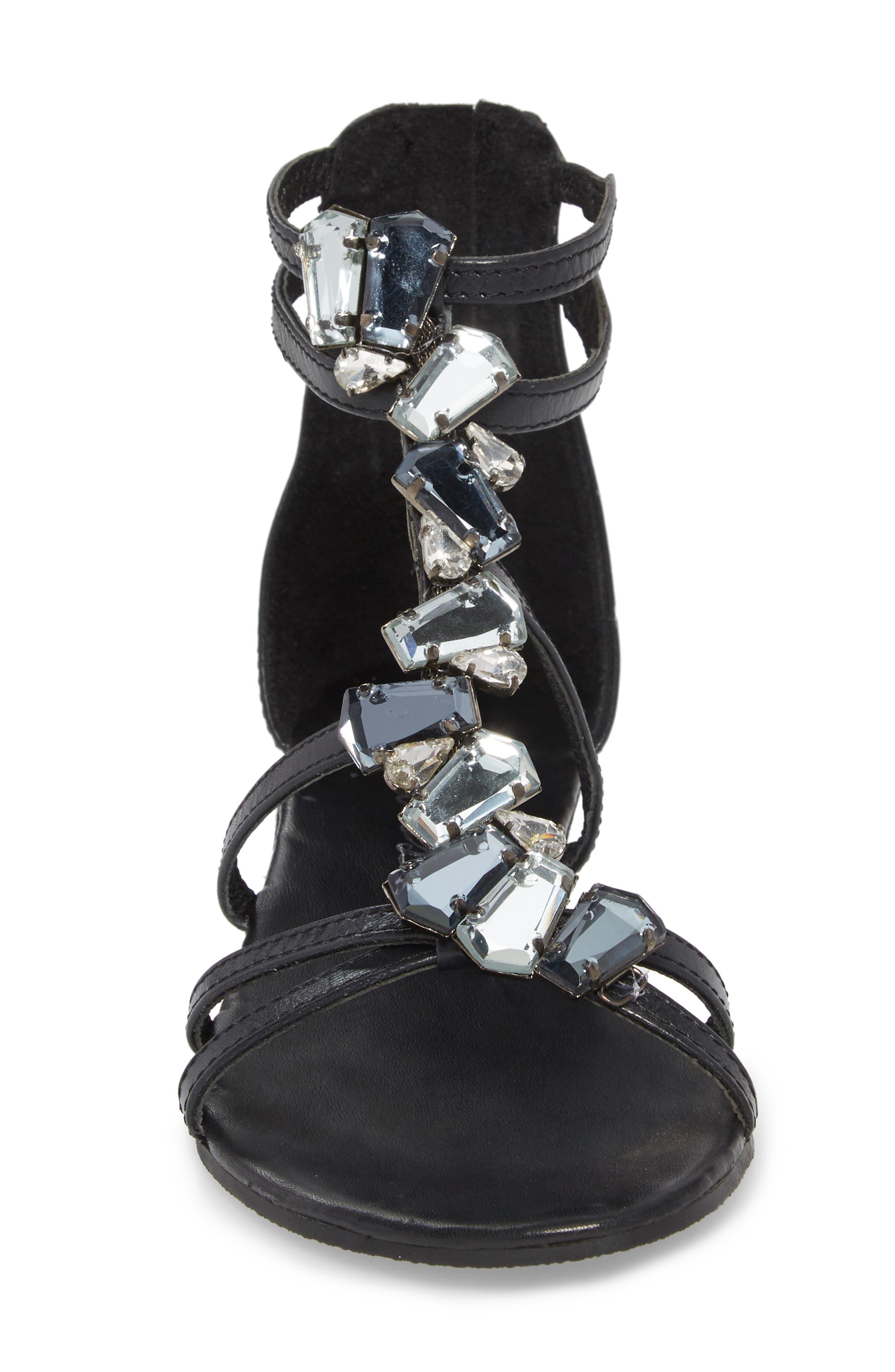 Didi Crystal Embellished Sandal,                             Alternate thumbnail 4, color,                             BLACK LEATHER