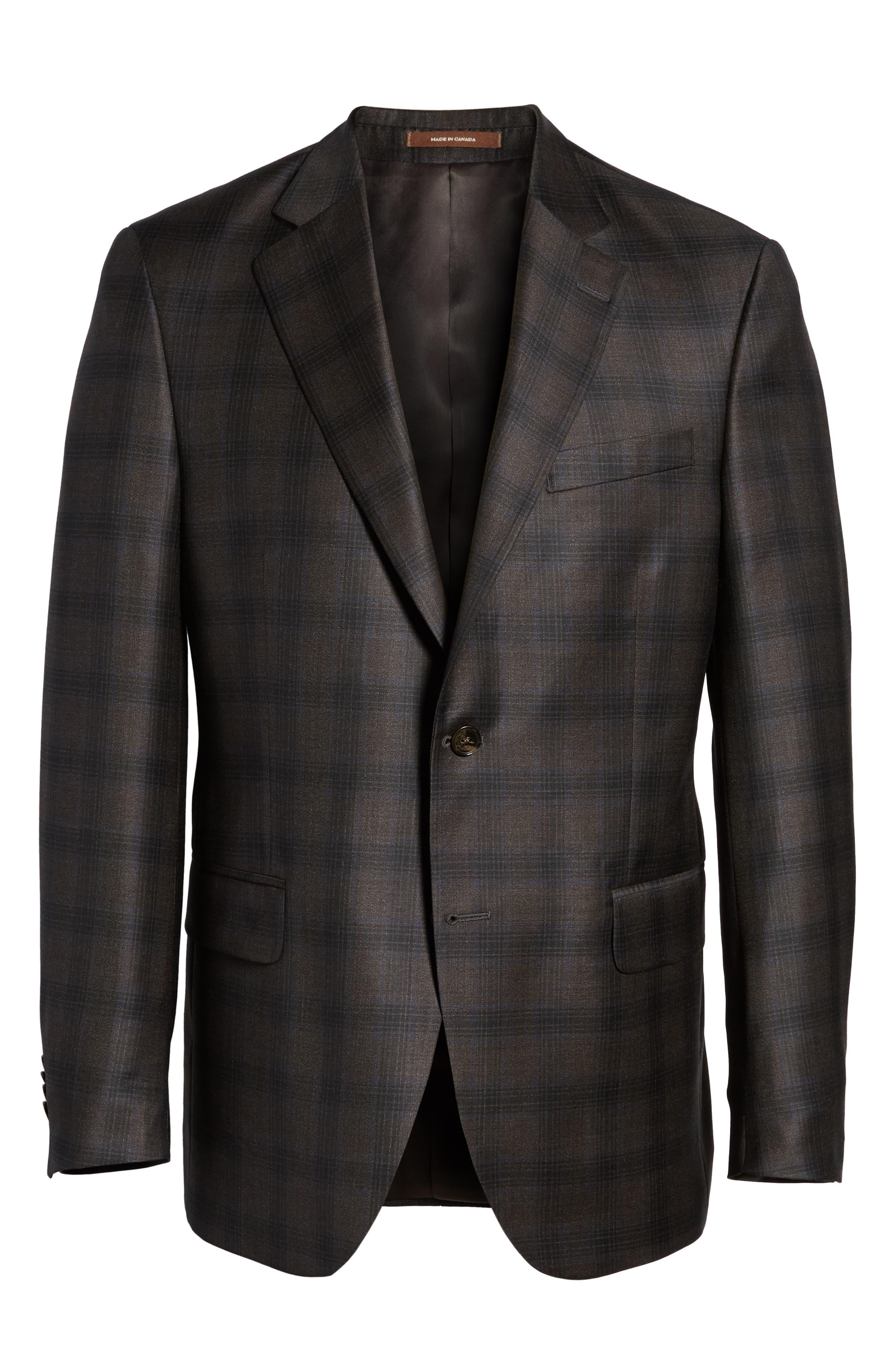 Classic Fit Plaid Wool Sport Coat,                             Alternate thumbnail 5, color,