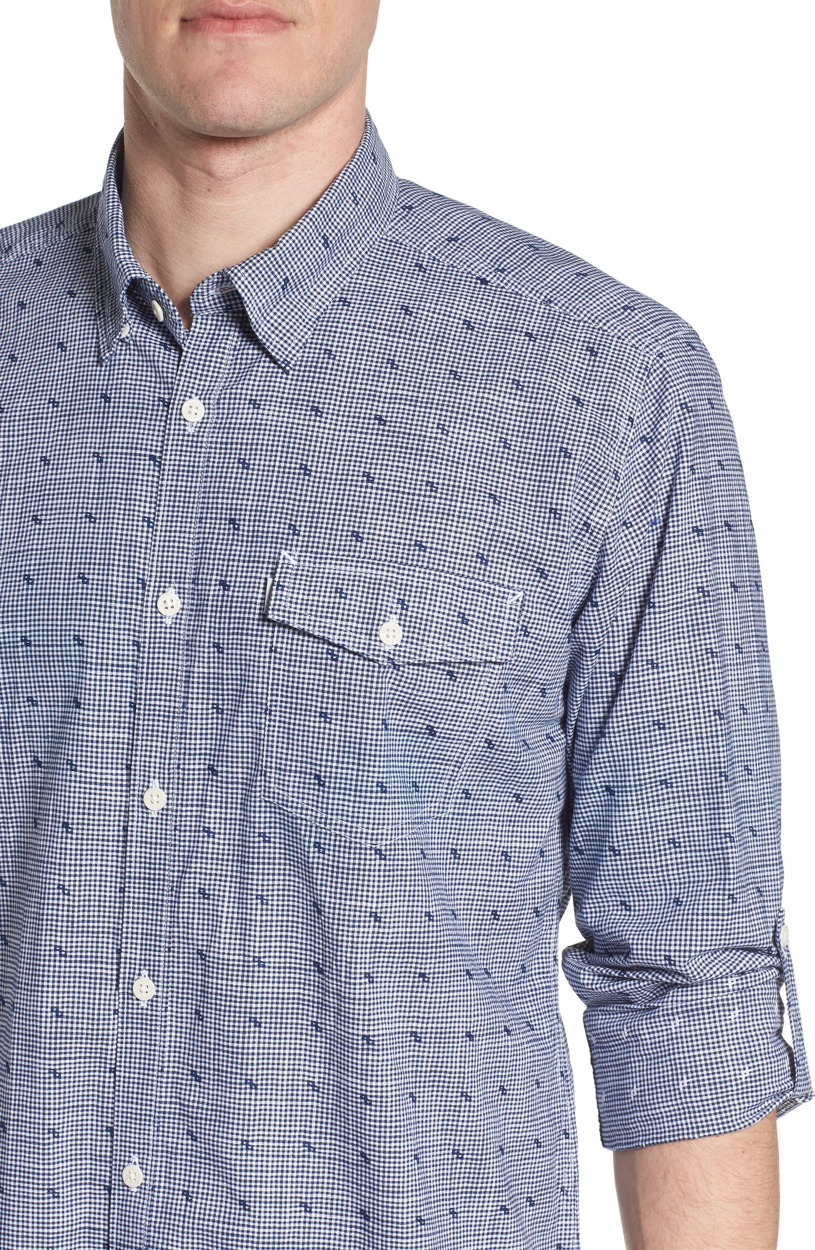 Beluga Regular Fit Check Sport Shirt,                             Alternate thumbnail 4, color,                             410